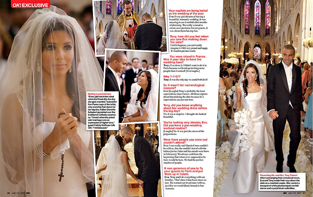 "We were honored to work with Party Planner extraordinaire Mindy Weiss on Eva Longoria and Tony Parker's wedding and thrilled to be the exclusive photographers for six consecutive days in Paris, France. We floated on a yacht down the Seine, we spent the day at Coco Chanel's private residence, and ended with a spectacular wedding at the beautiful Château de Vaux-le-Vicomte. And very excited to have OK Magazine publish our photo on the cover of two issues; The ""Wedding of The Year"", and ""Wedding Party of The Year"" and ran many of our images throughout both articles."