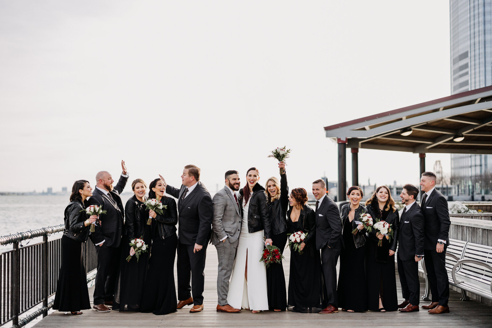 edgy bridal party with leather jackets