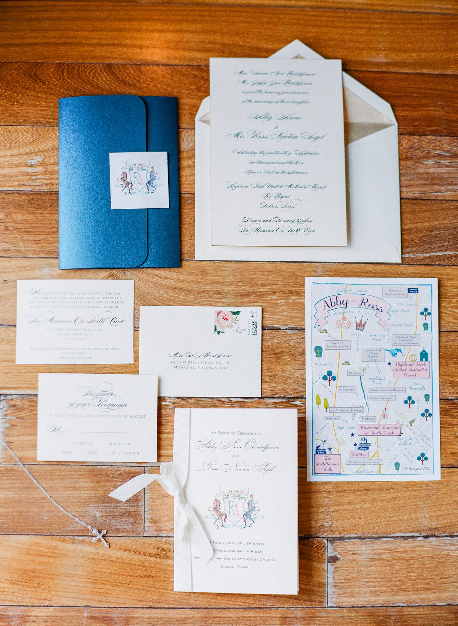 stationery suite including a custom map and watercolor crest