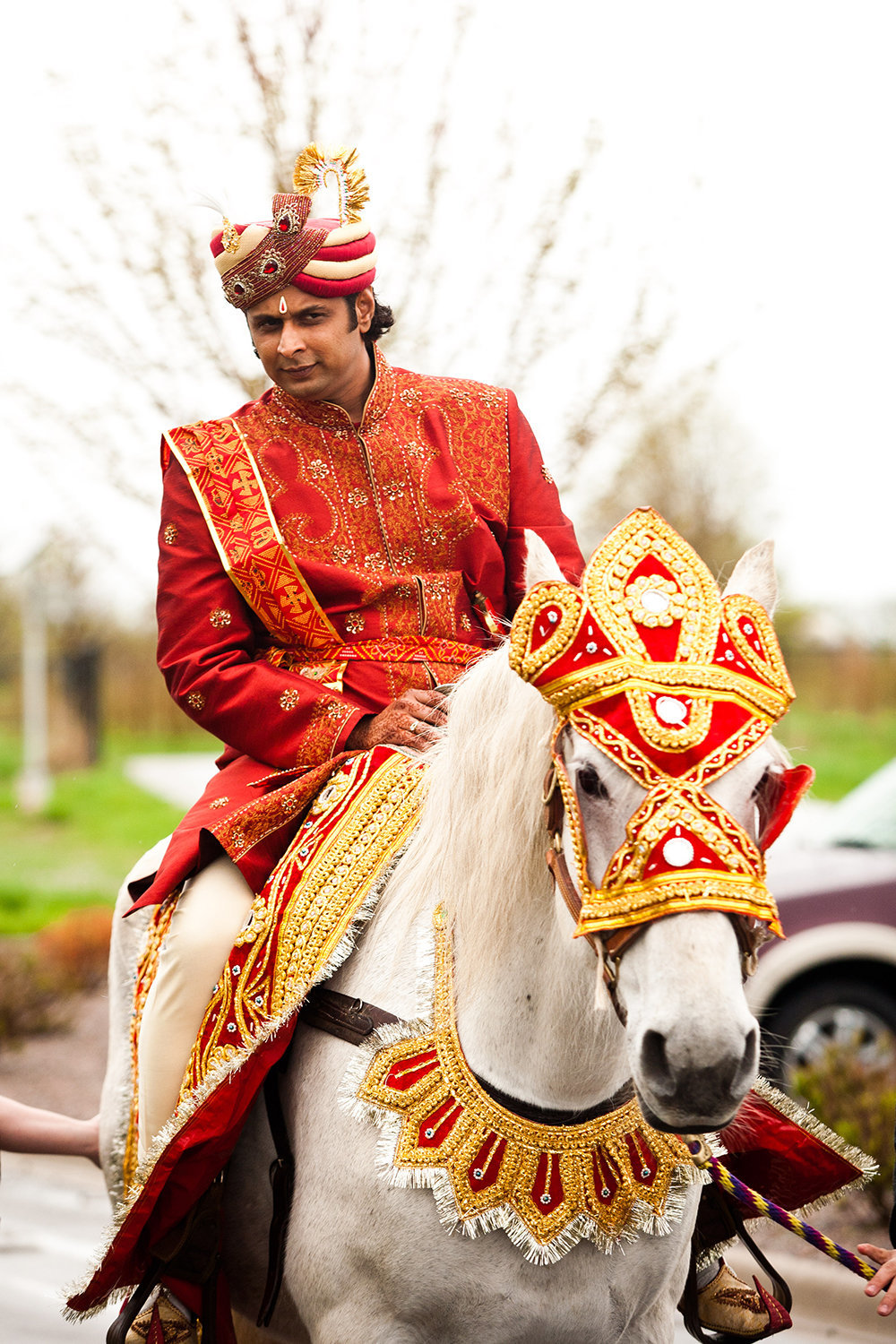 Traditional Hindu Baraat Ceremony with Groom on Horse