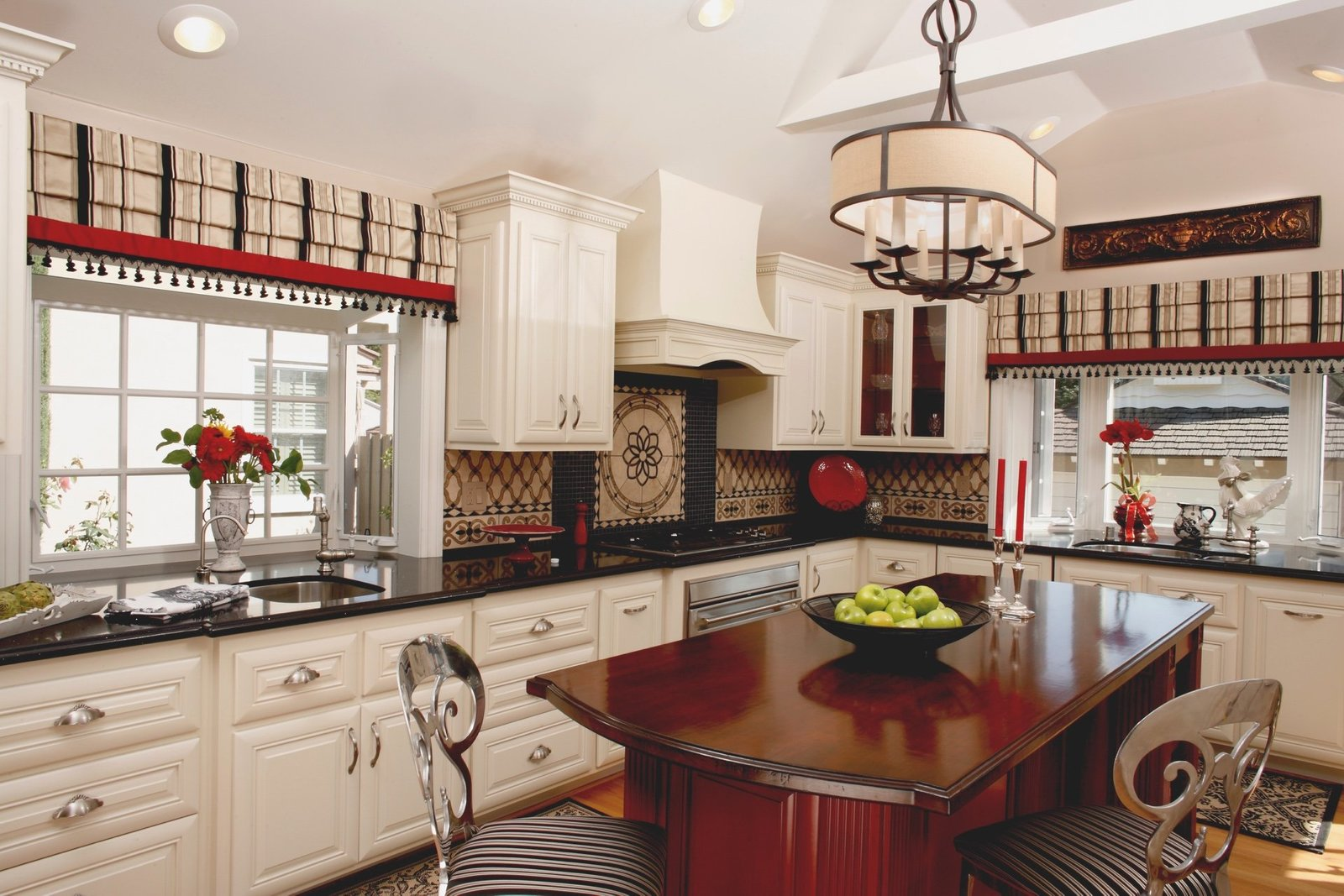 White, Black  Red Kitchen Design