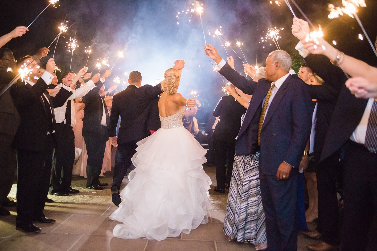 M Harris Studios_Trump National Golf Club Wedding_sparkler exit2