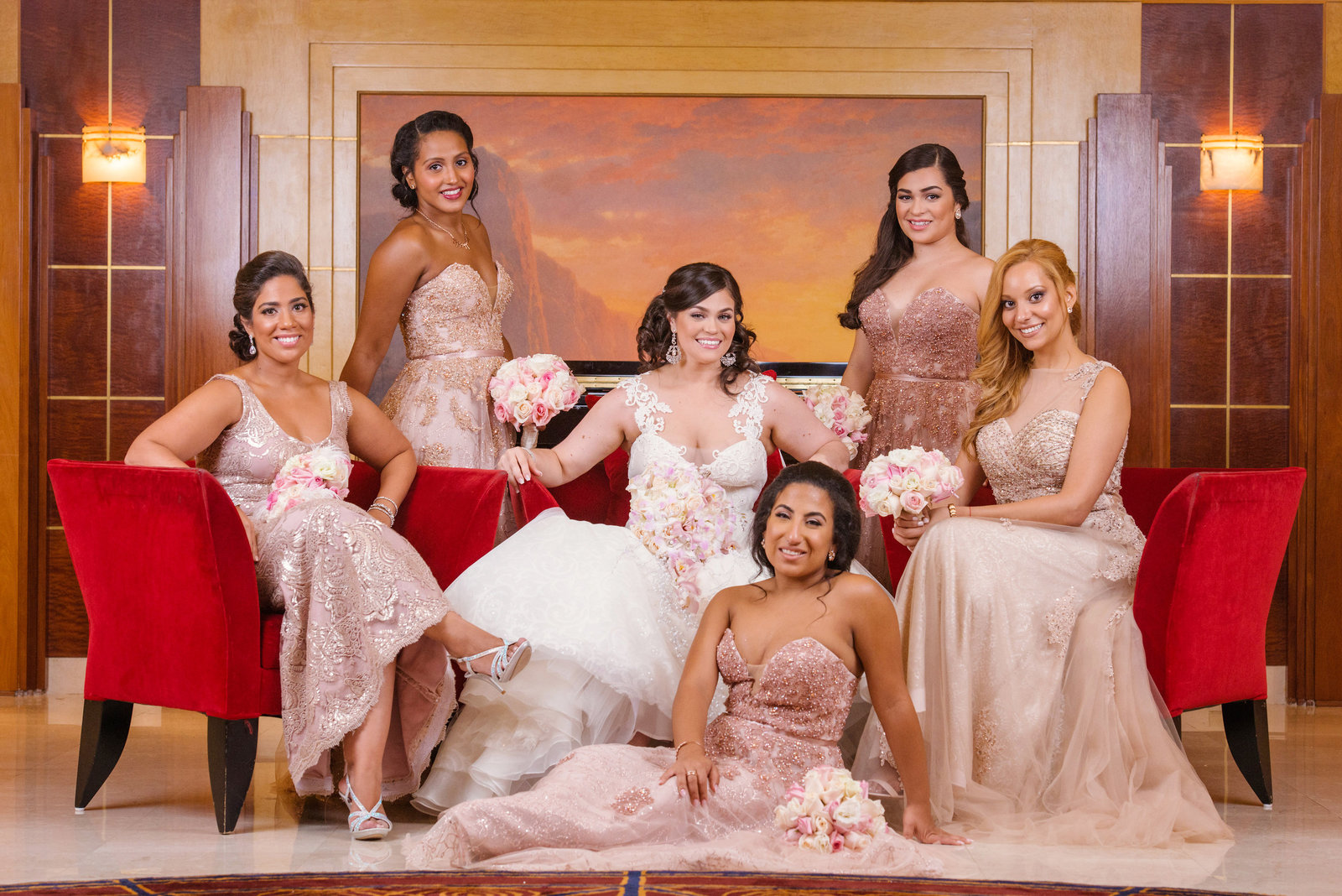 Bridesmaids at the photo session room at Chateau Briand