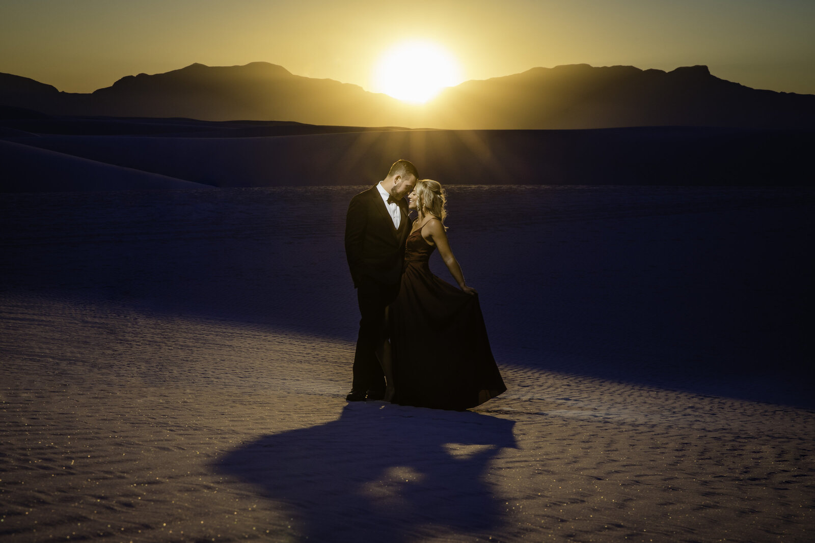 White Sands Adventure Engagement Session at Sunset