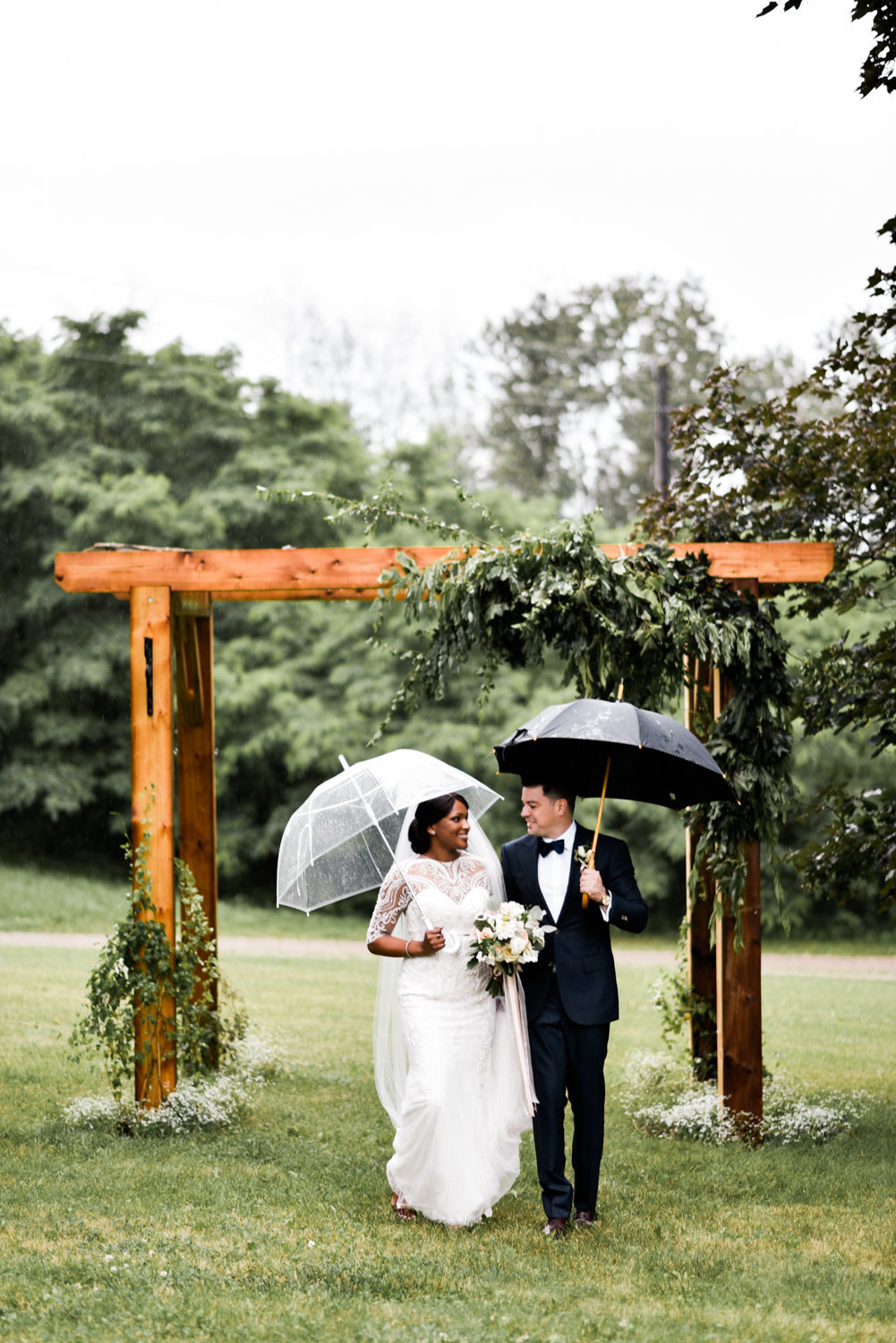 Rain wedding photo