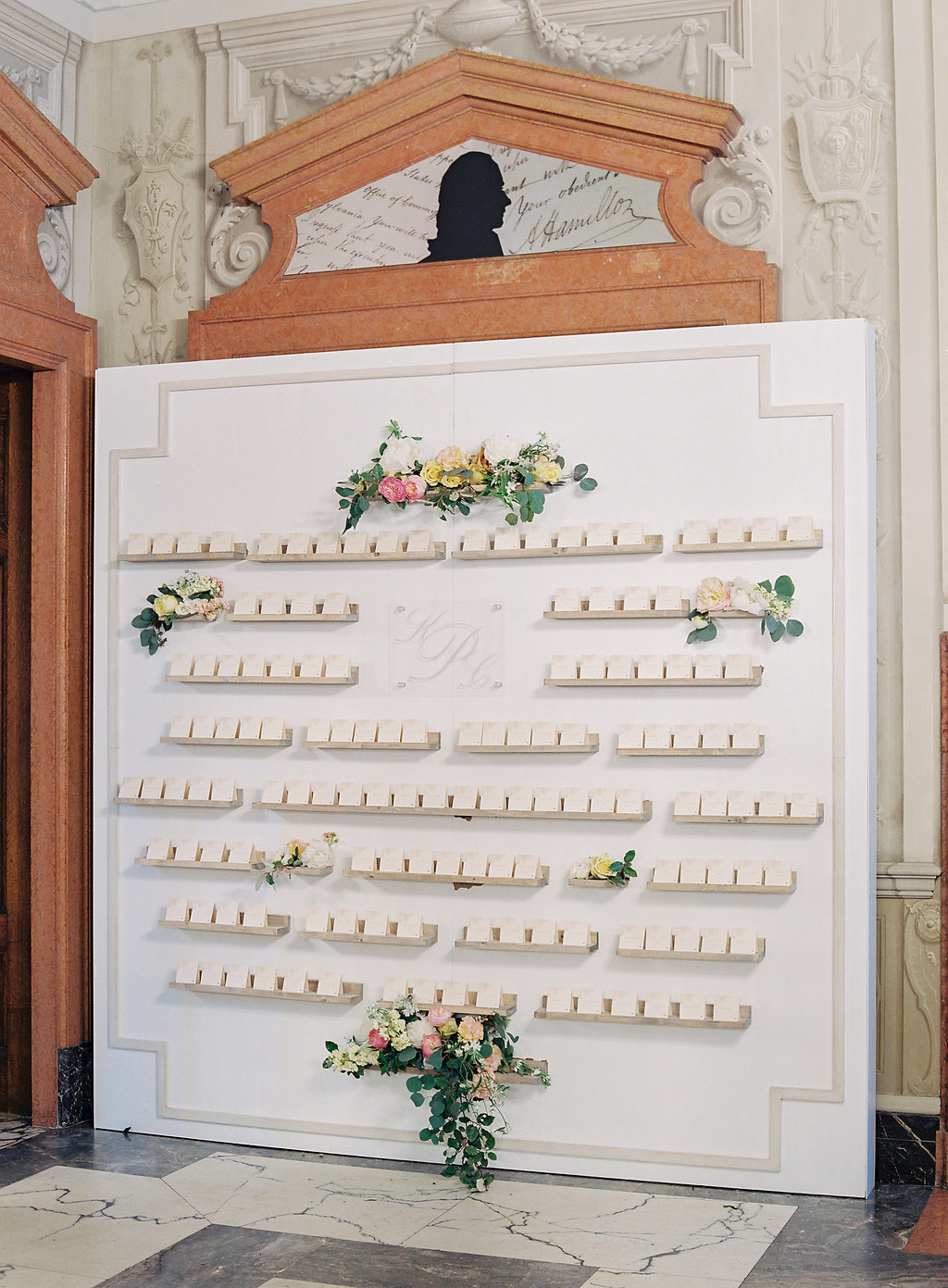 escort cards, travertine tiles, anderson house wedding, pamela barefoot dc wedding planner
