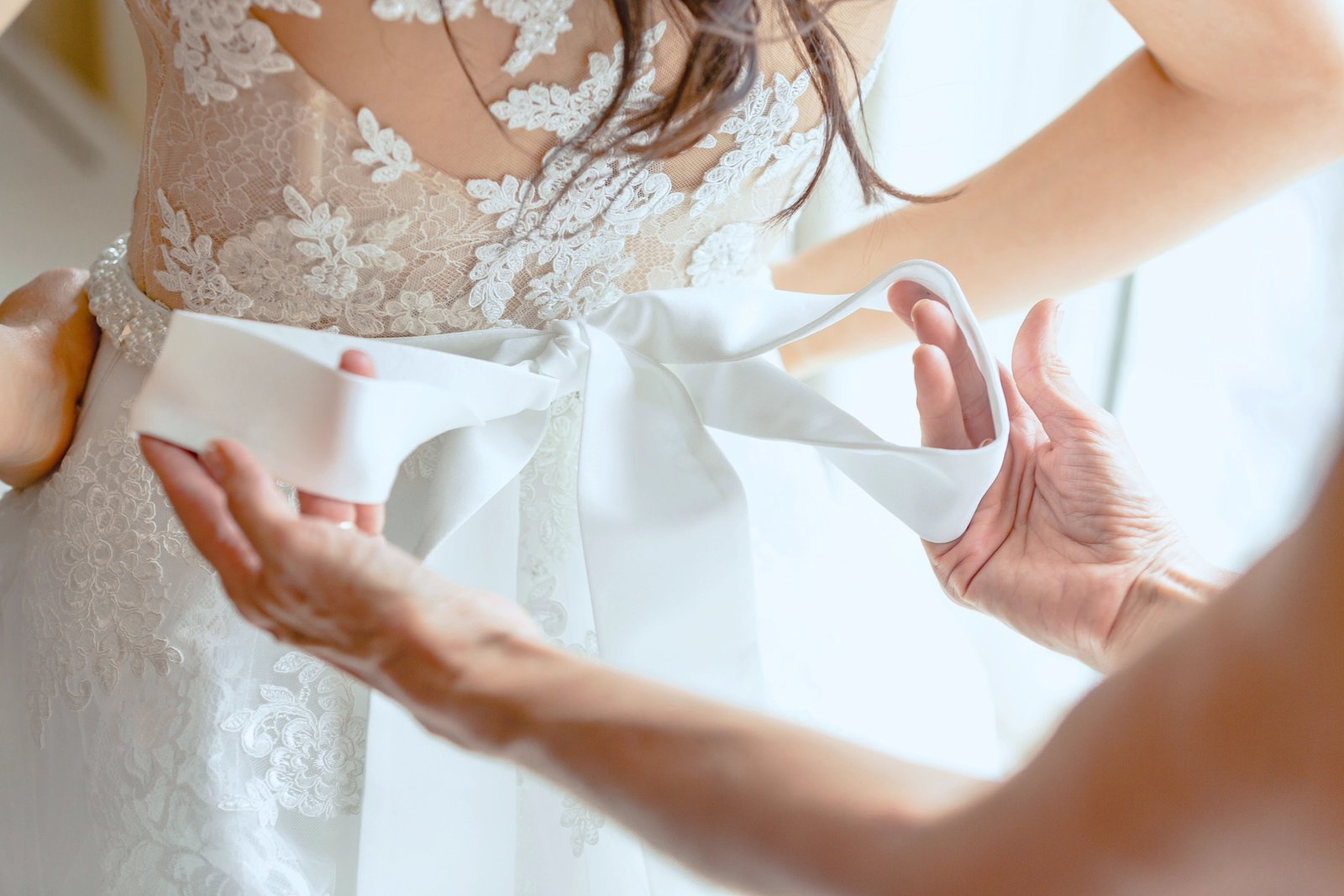close up of wedding dress bow at the newhall mansion wedding venue