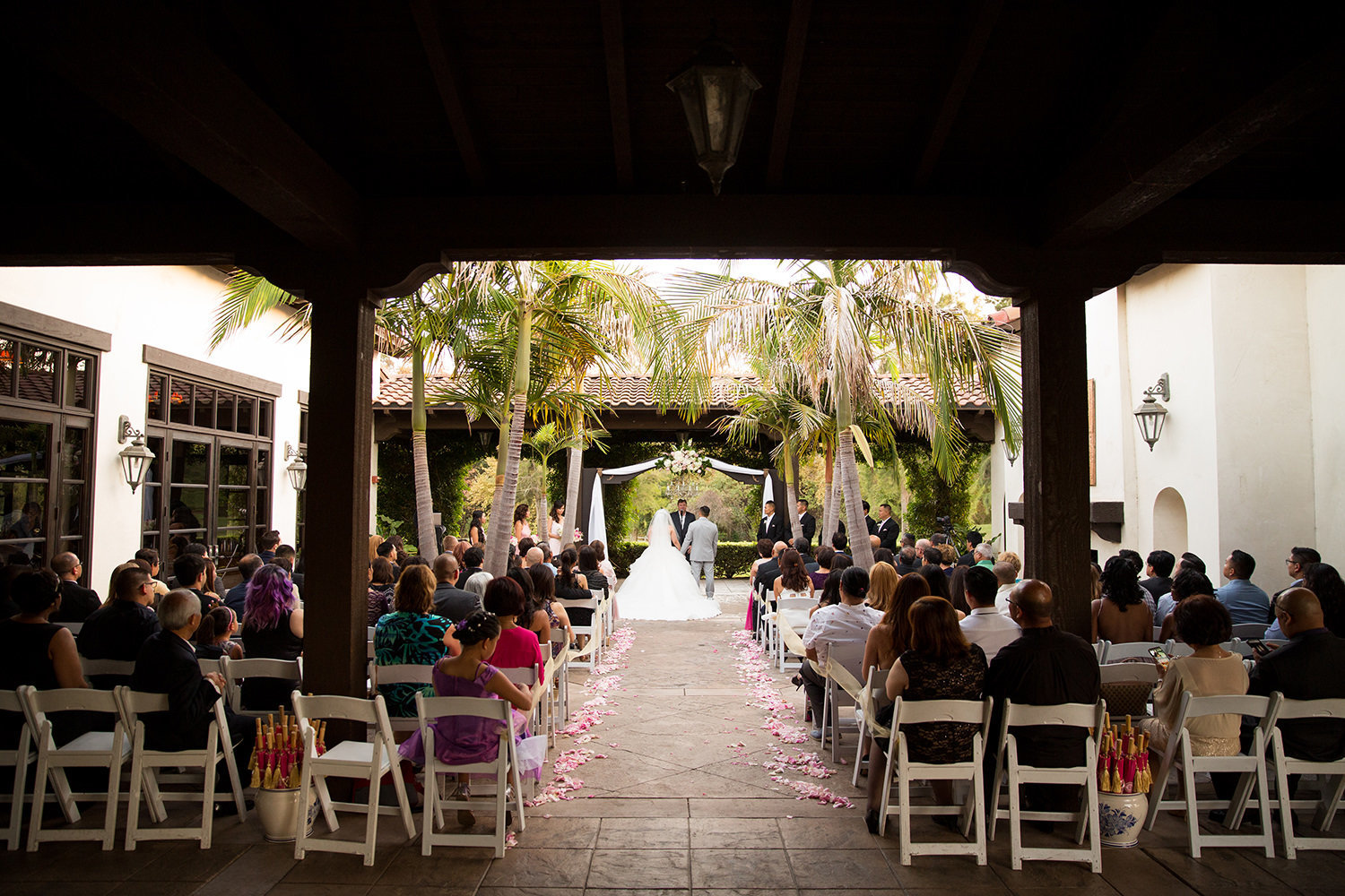 wedgewood ceremony space with bride and groo