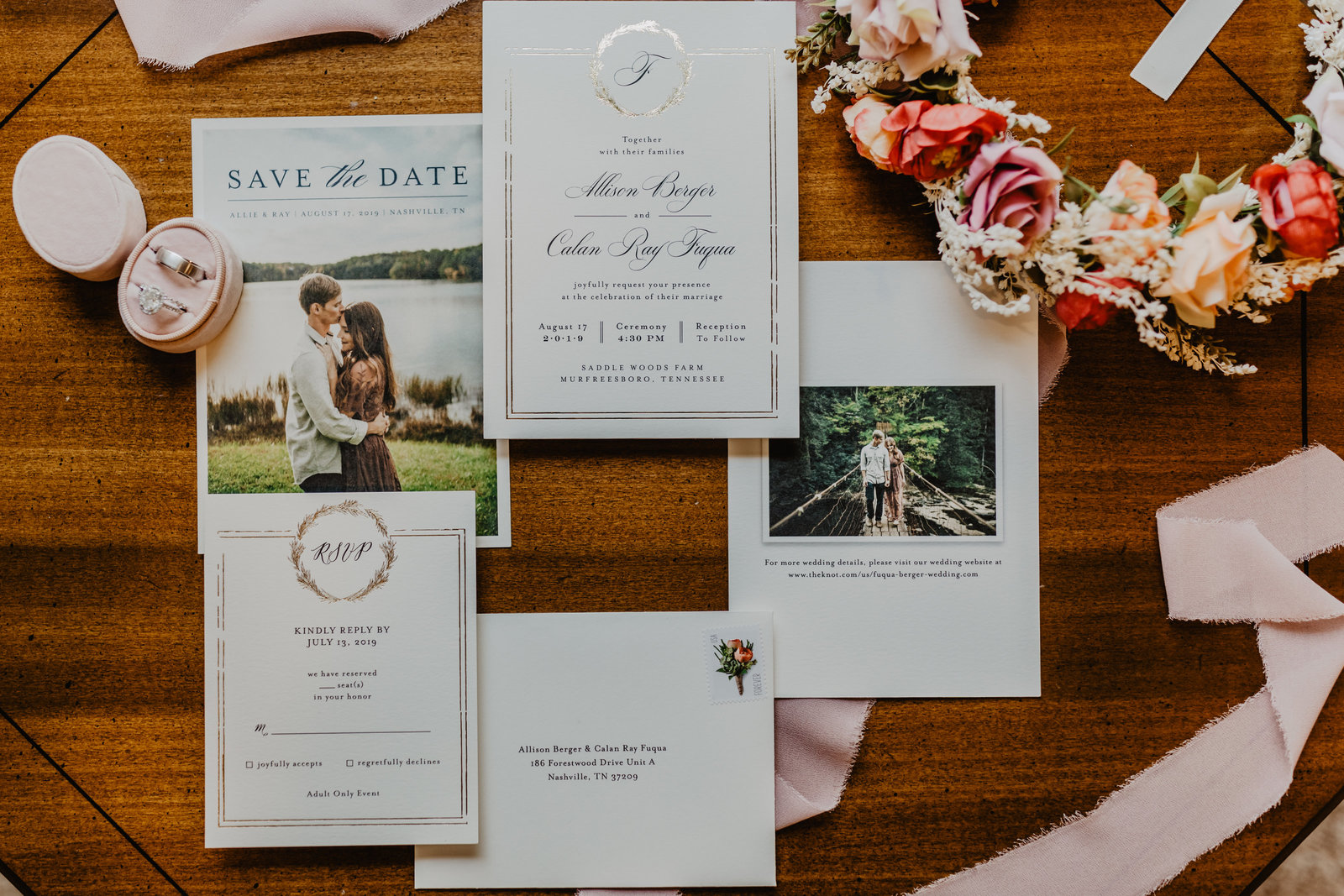 With touches of blush and pinks this invitation suite was prefect for her wedding at Saddle Woods Farm