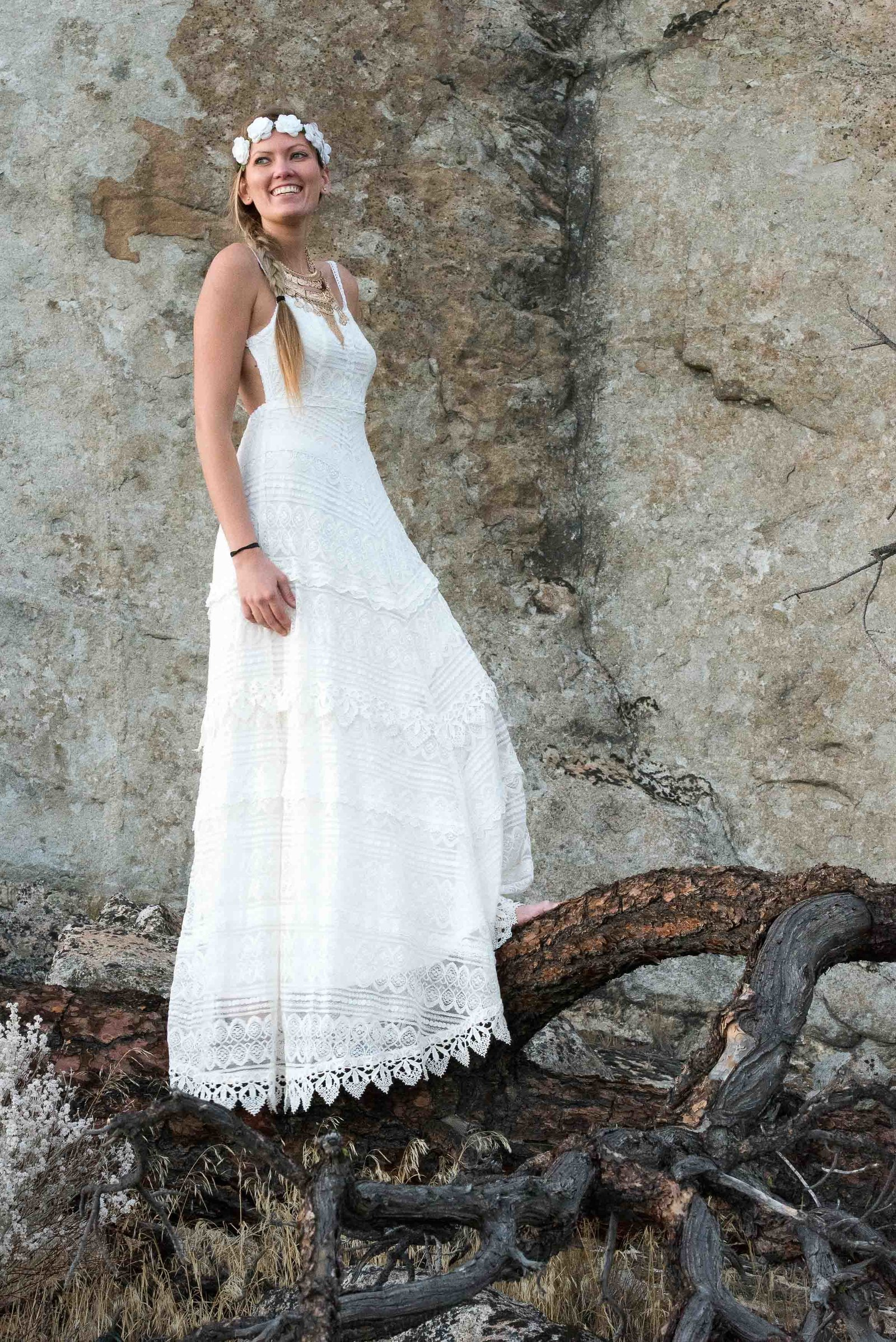 Boho wedding dress ideas for an active adventure wedding