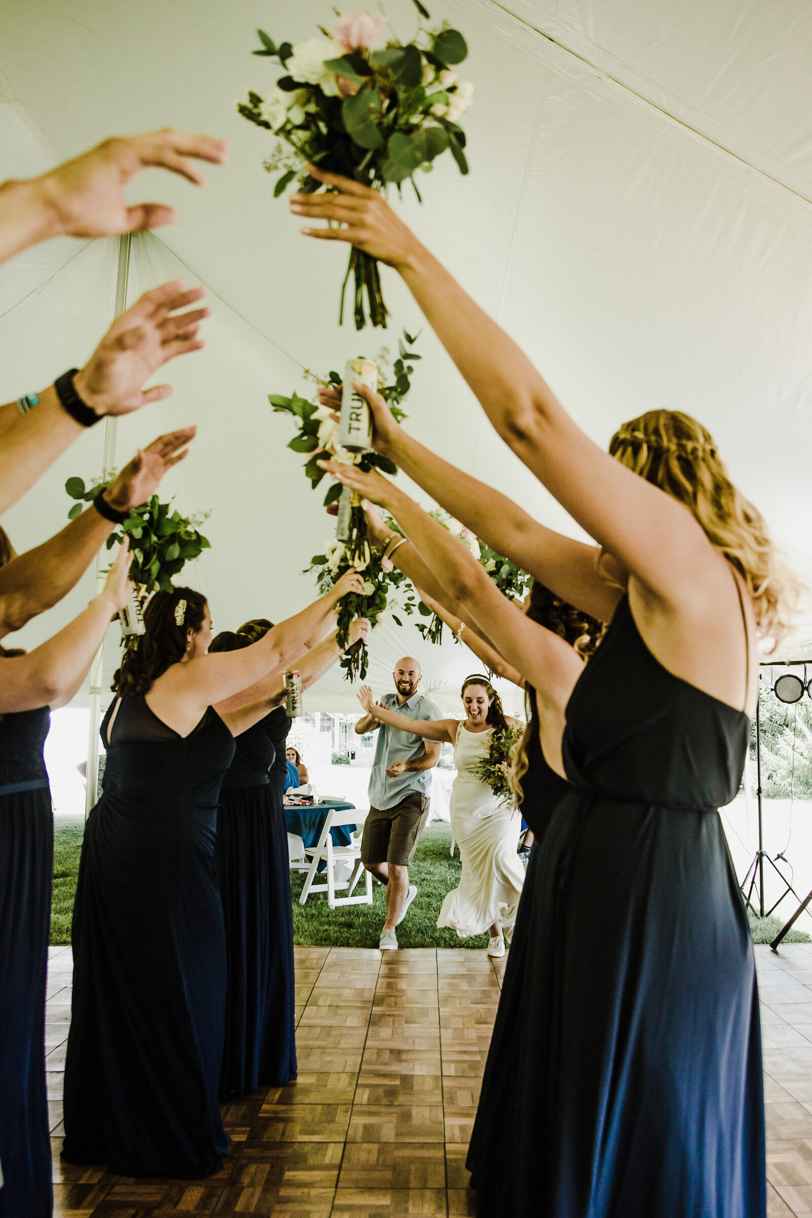 bridal-party-hands-up