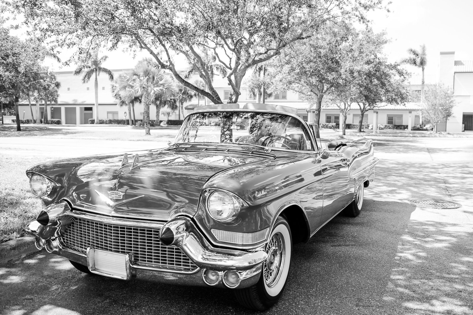 Bride and Groom Classic Car - Country Club at Mirasol Wedding - Palm Beach Wedding Photography by Palm Beach Photography, Inc.