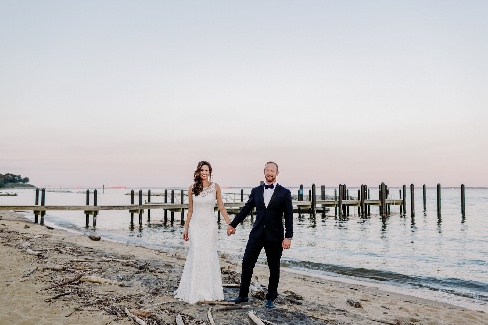 bride and groom maryland beach
