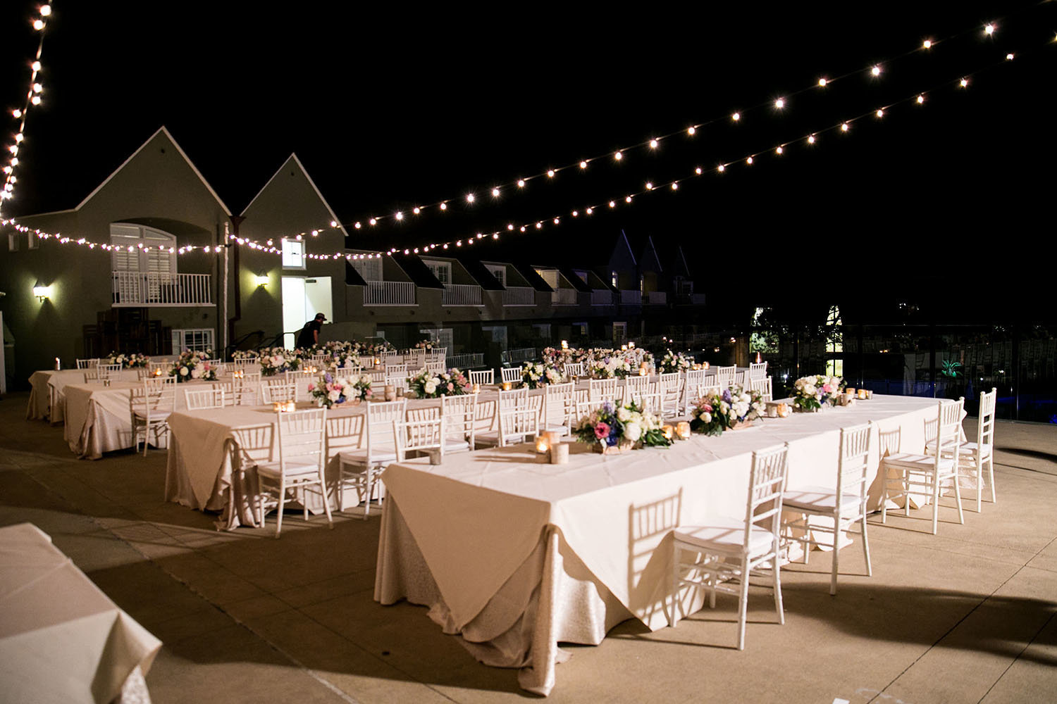 Wedding Reception table settings at L'Auberge Del Mar