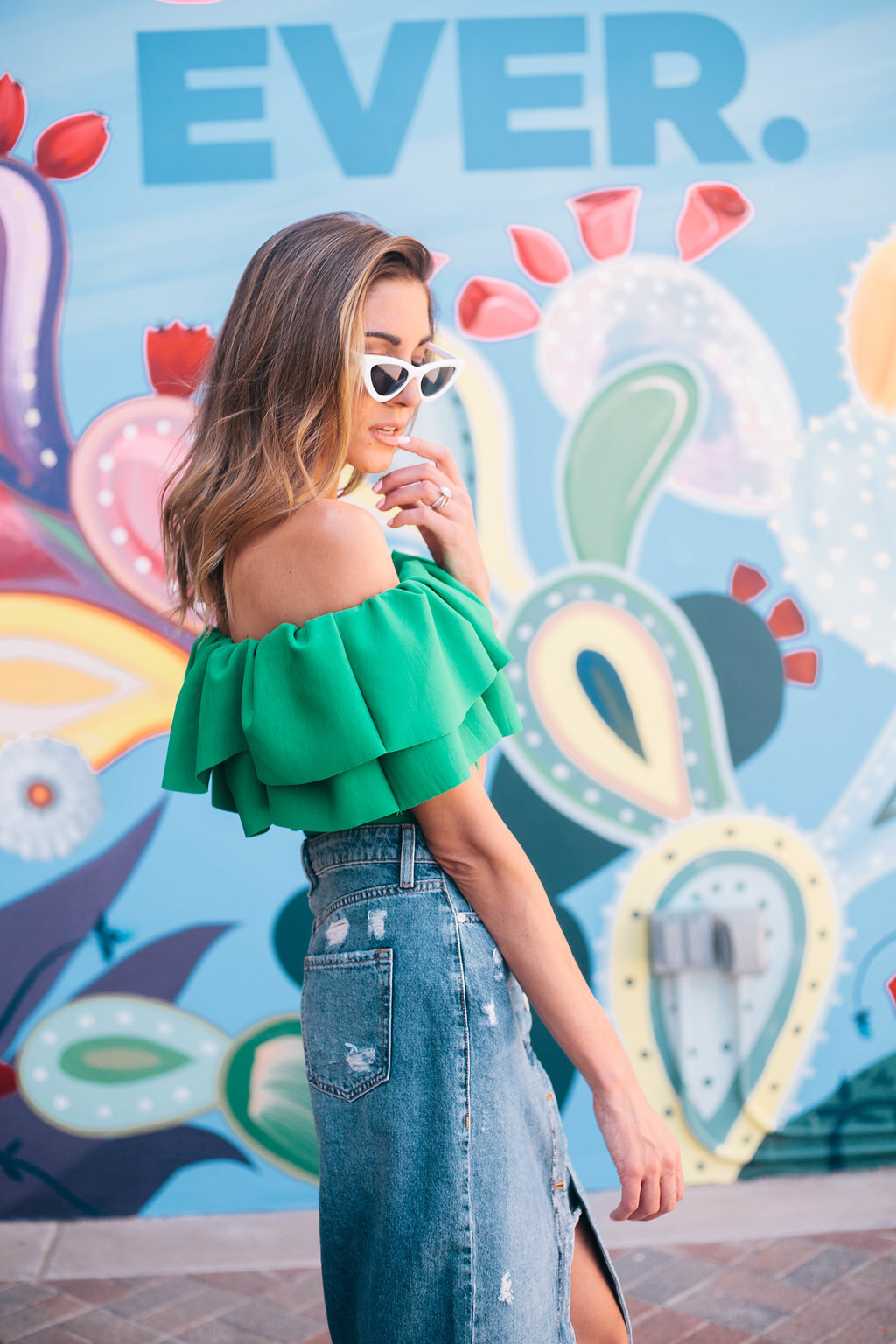 Venessa Kaufman Green Off the Shoulder Top Denim Skirt