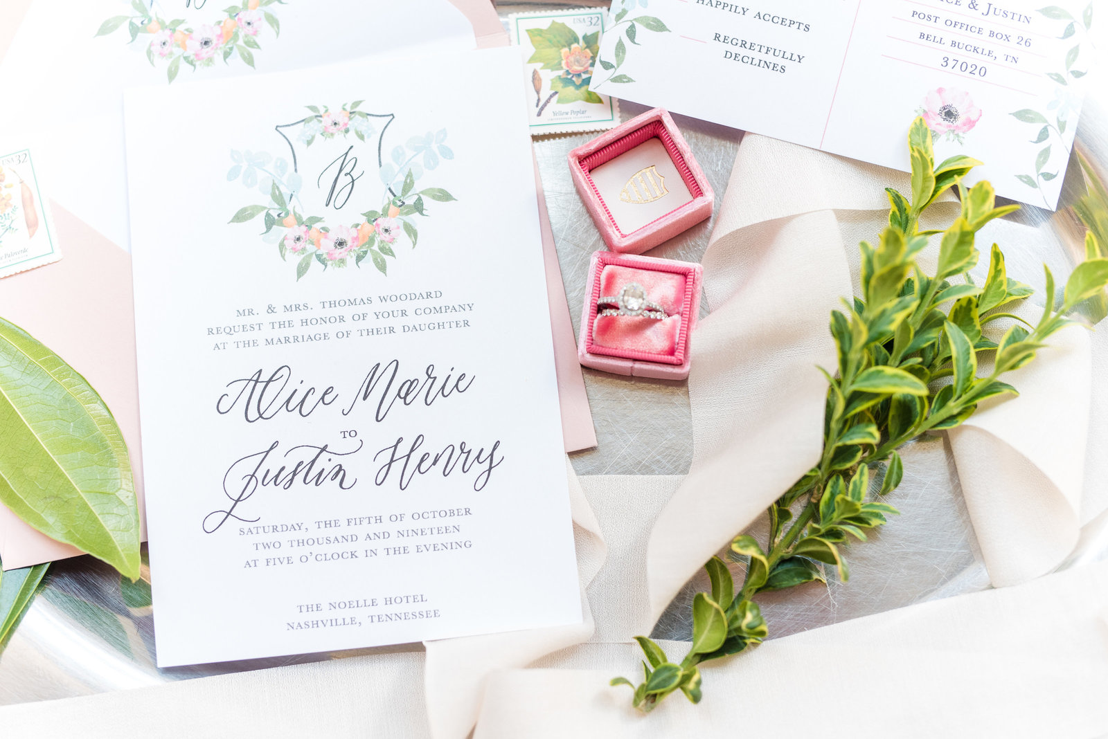 Nashville Tennessee Wedding Details Invitation Suite Florals