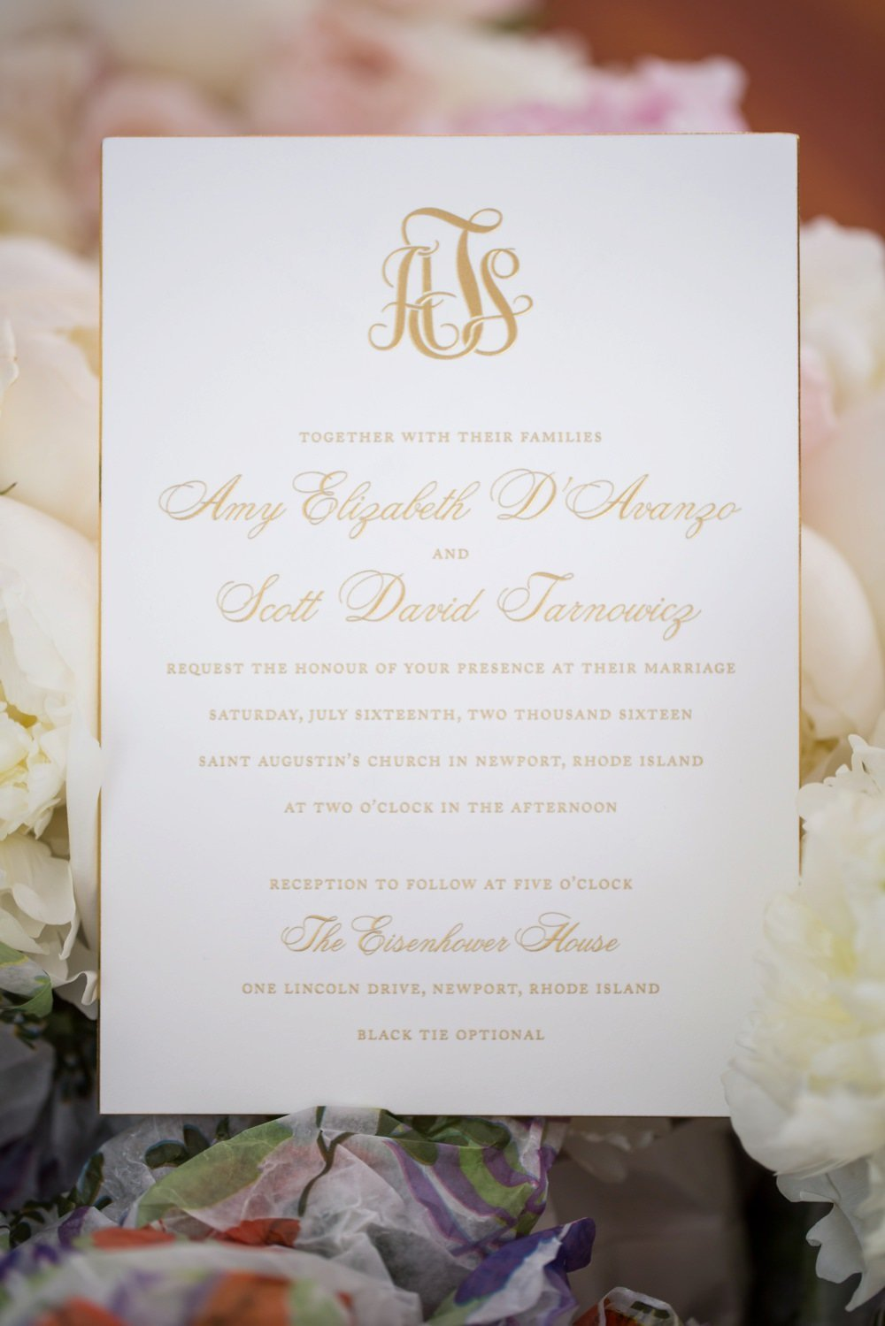 Classic monogramed wedding invitation in gold foil for Eisenhower House wedding
