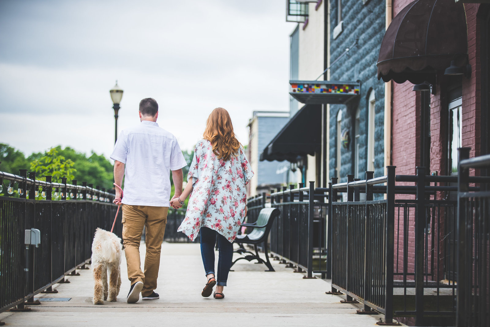 engagement session in downtown Portland with their labradoodle
