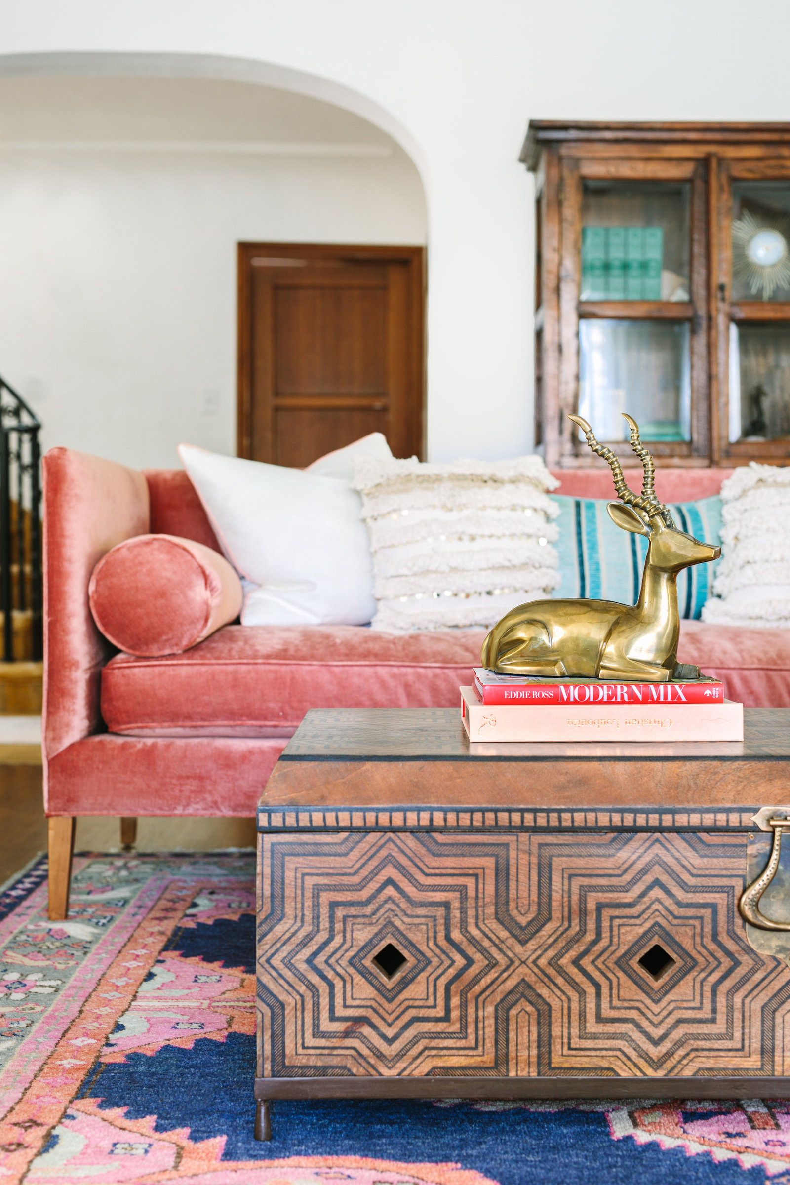 Pink Anthropologie rosewood velvet sofa, Spanish glamour living room ideas | Los Angeles Interior Design