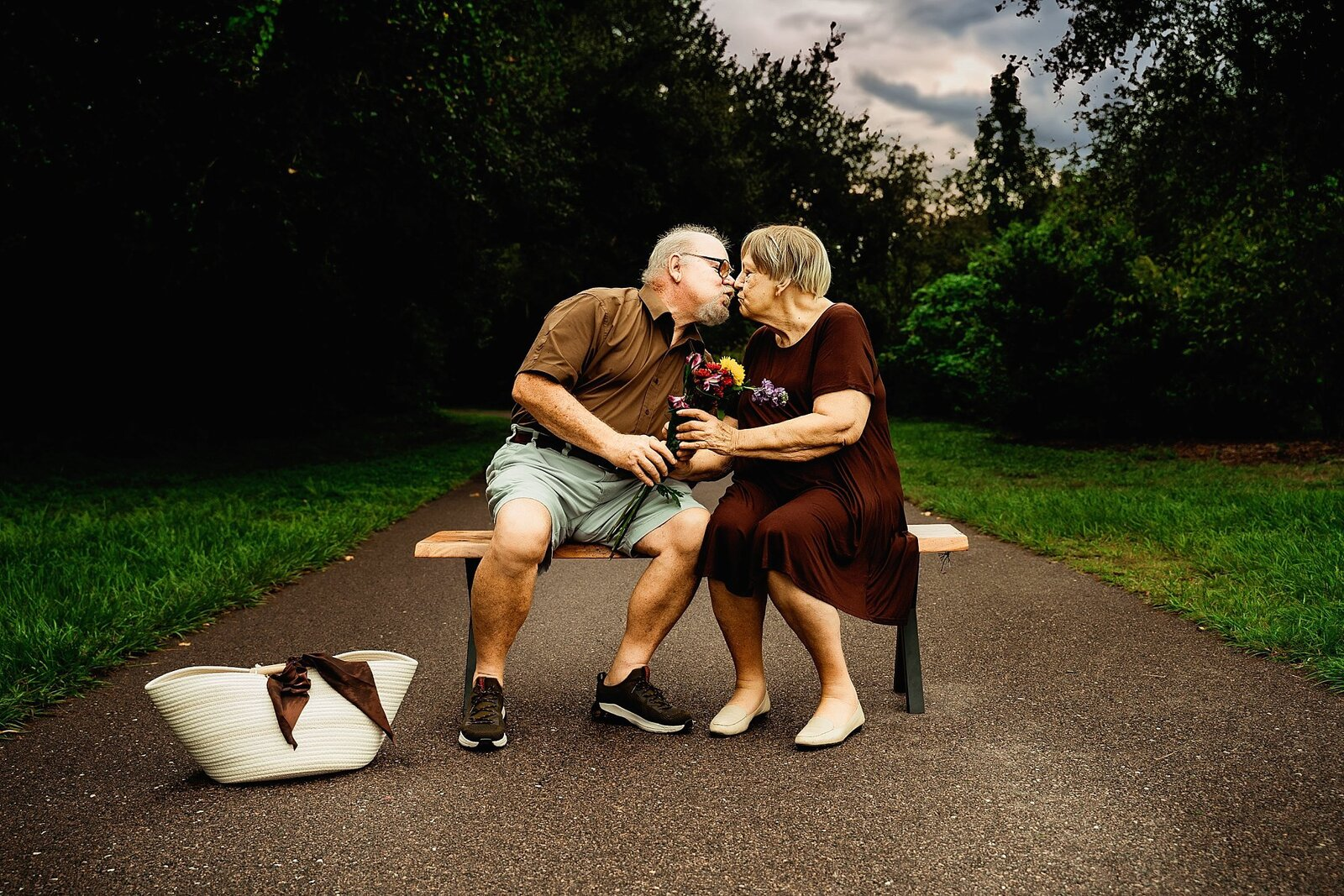 elderly couple celebrating being together for years