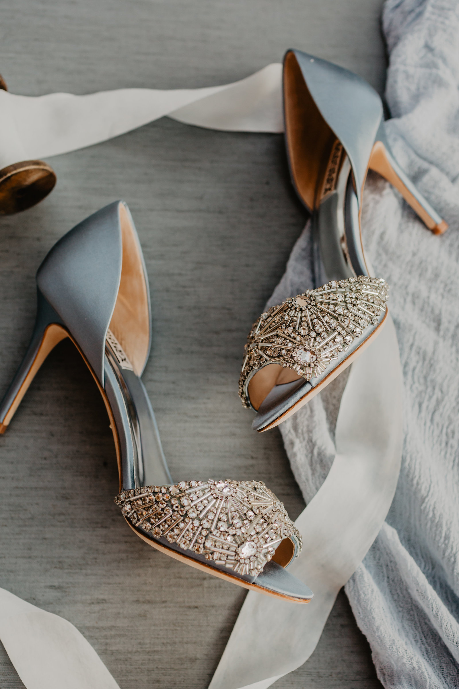 Blue wedding shoes with sparkly silver accents