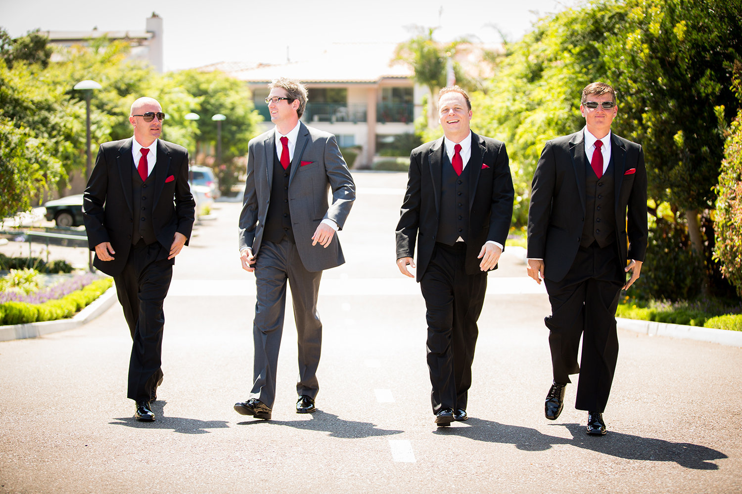 groomsmen walking in street at darlington house