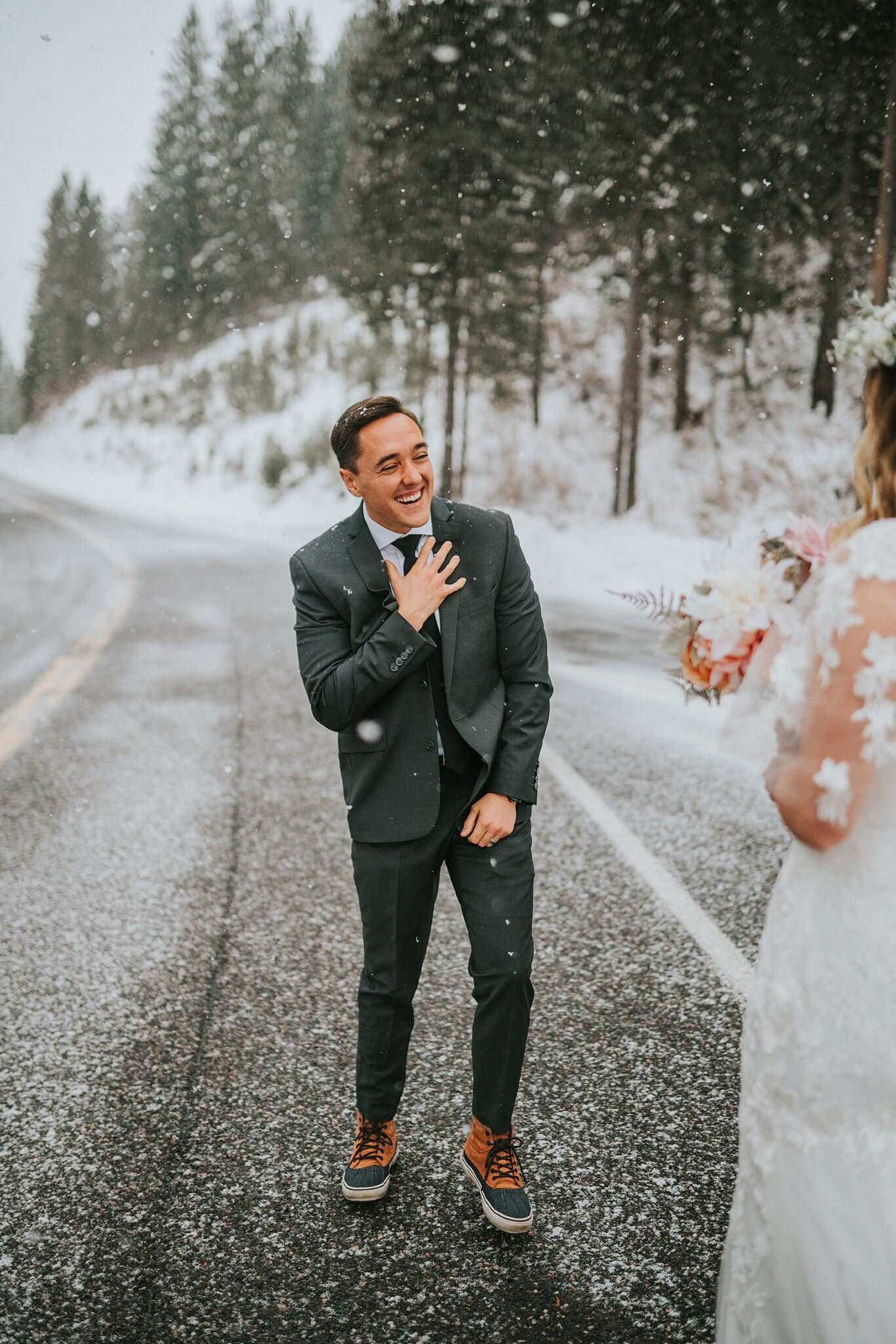 grooms reaction to first seeing his bride in gatlinburg tennesse on a beautiful snowy day