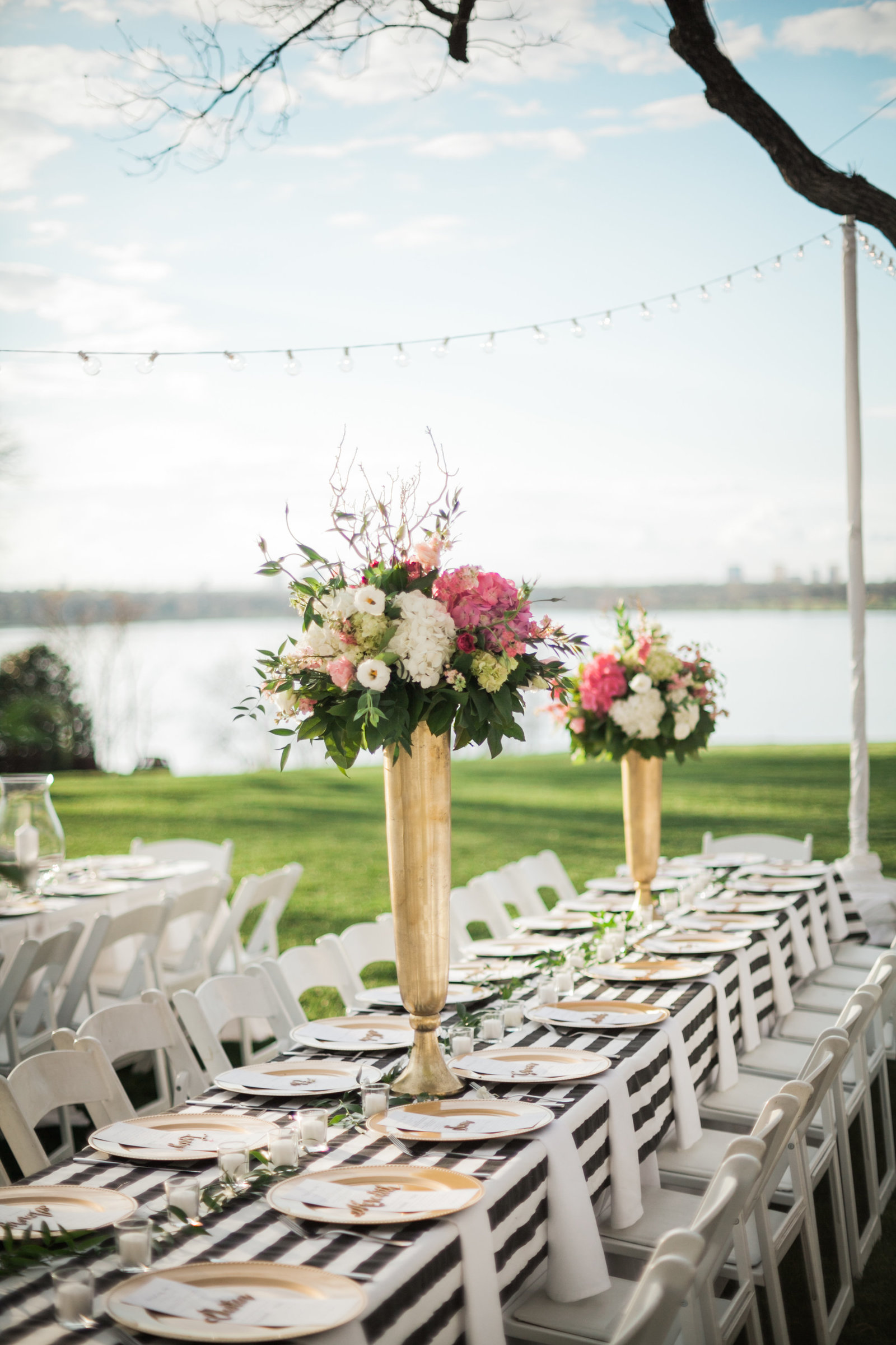 garden wedding reception by the lake at the dallas arboretum