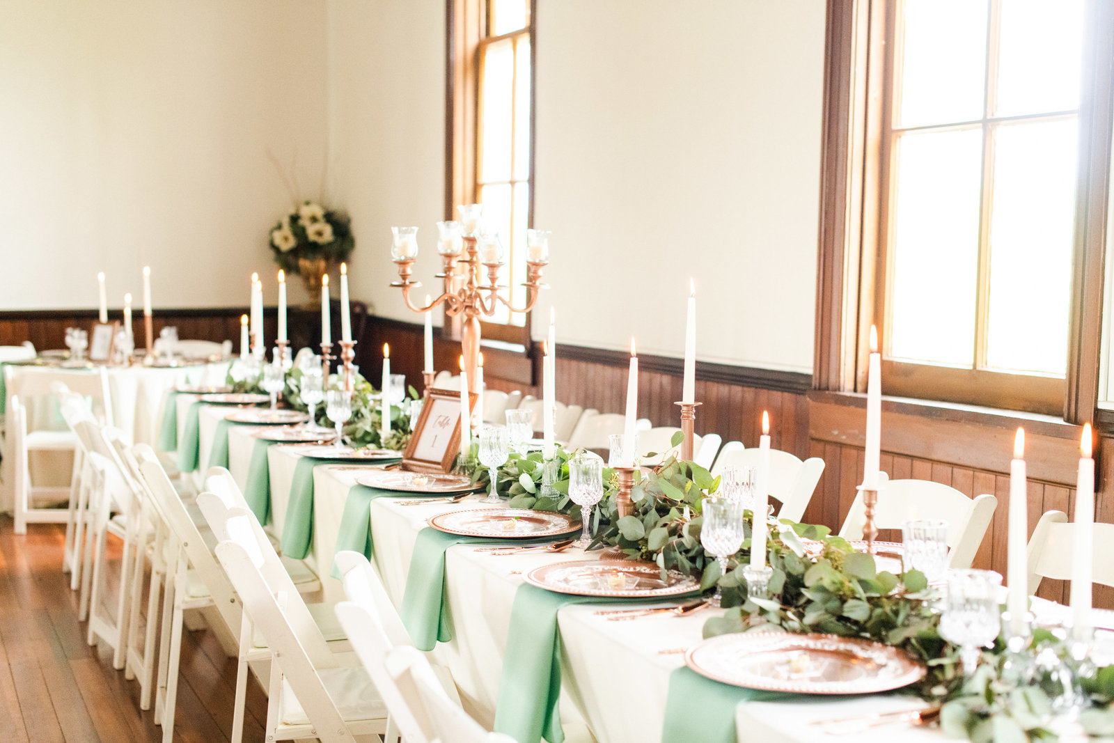 mint green reception place settings