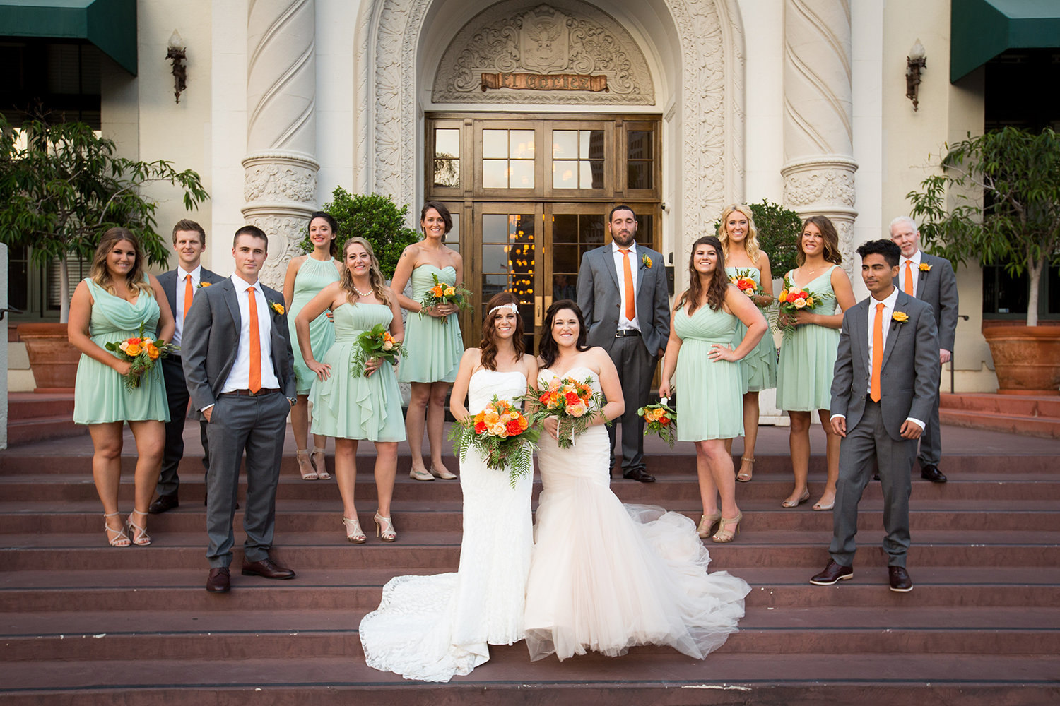 Modern Vogue styled wedding party photo