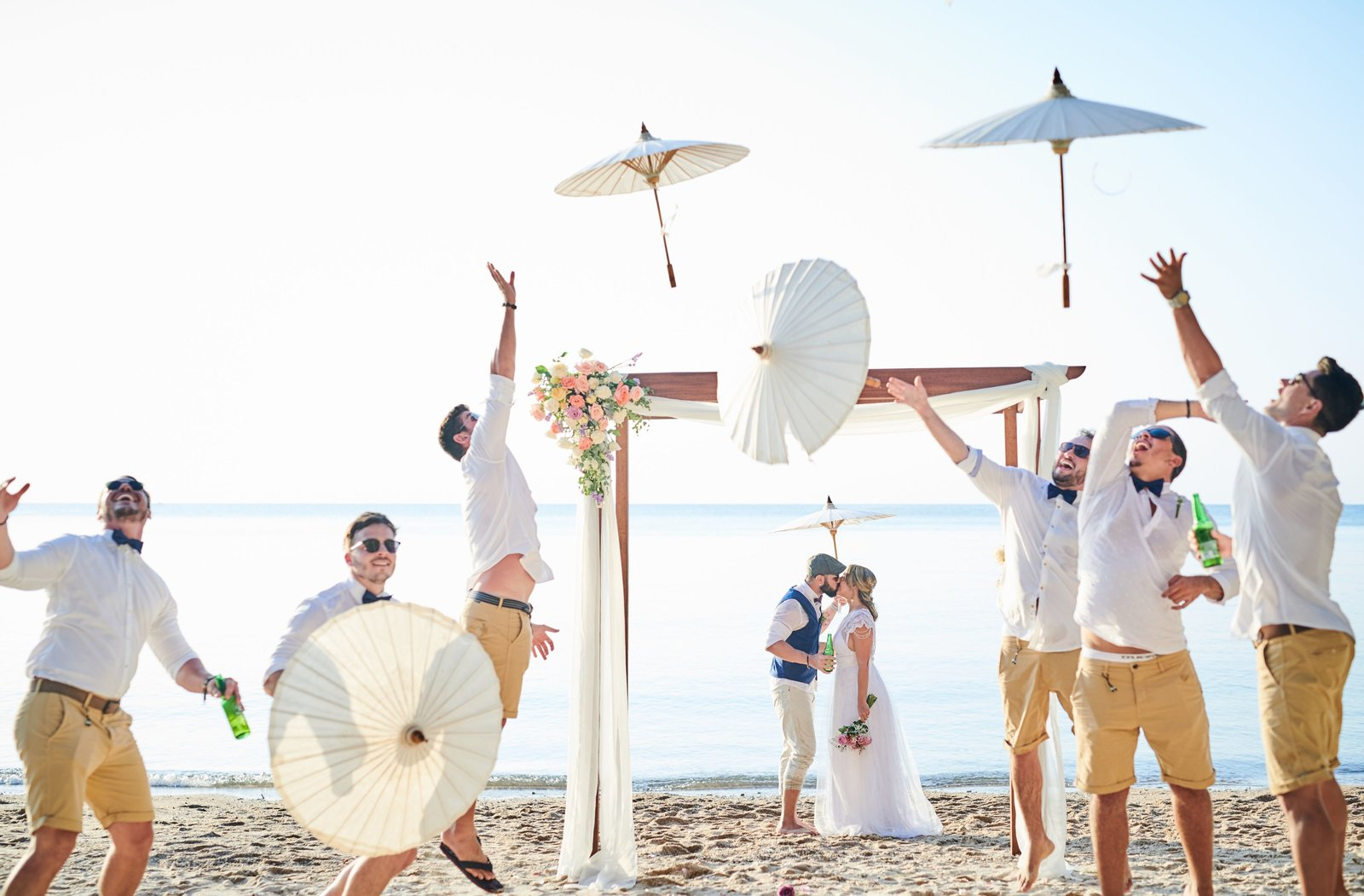 Wedding Ceremony with parasols