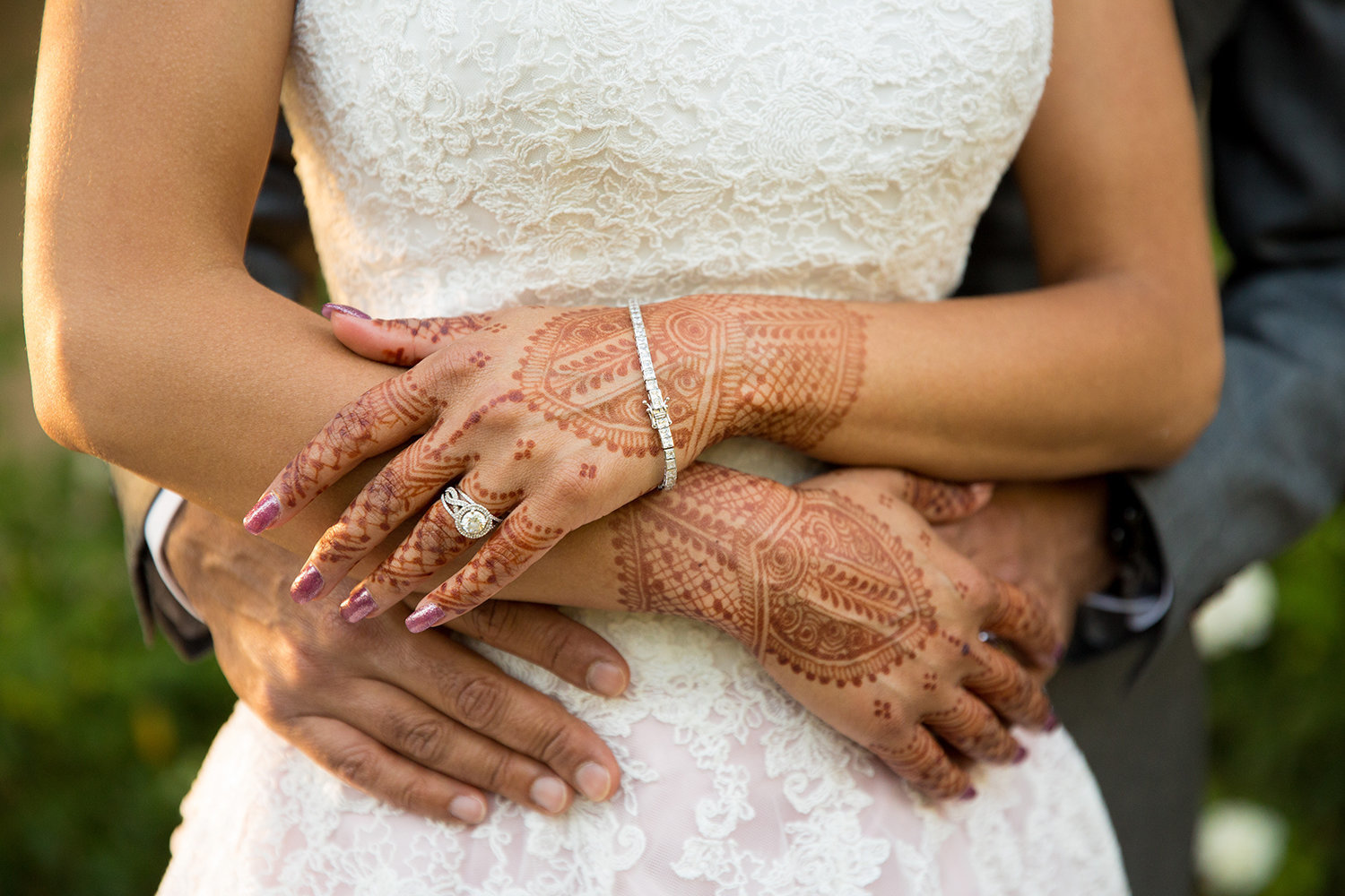 Romantic close up of bride's henna