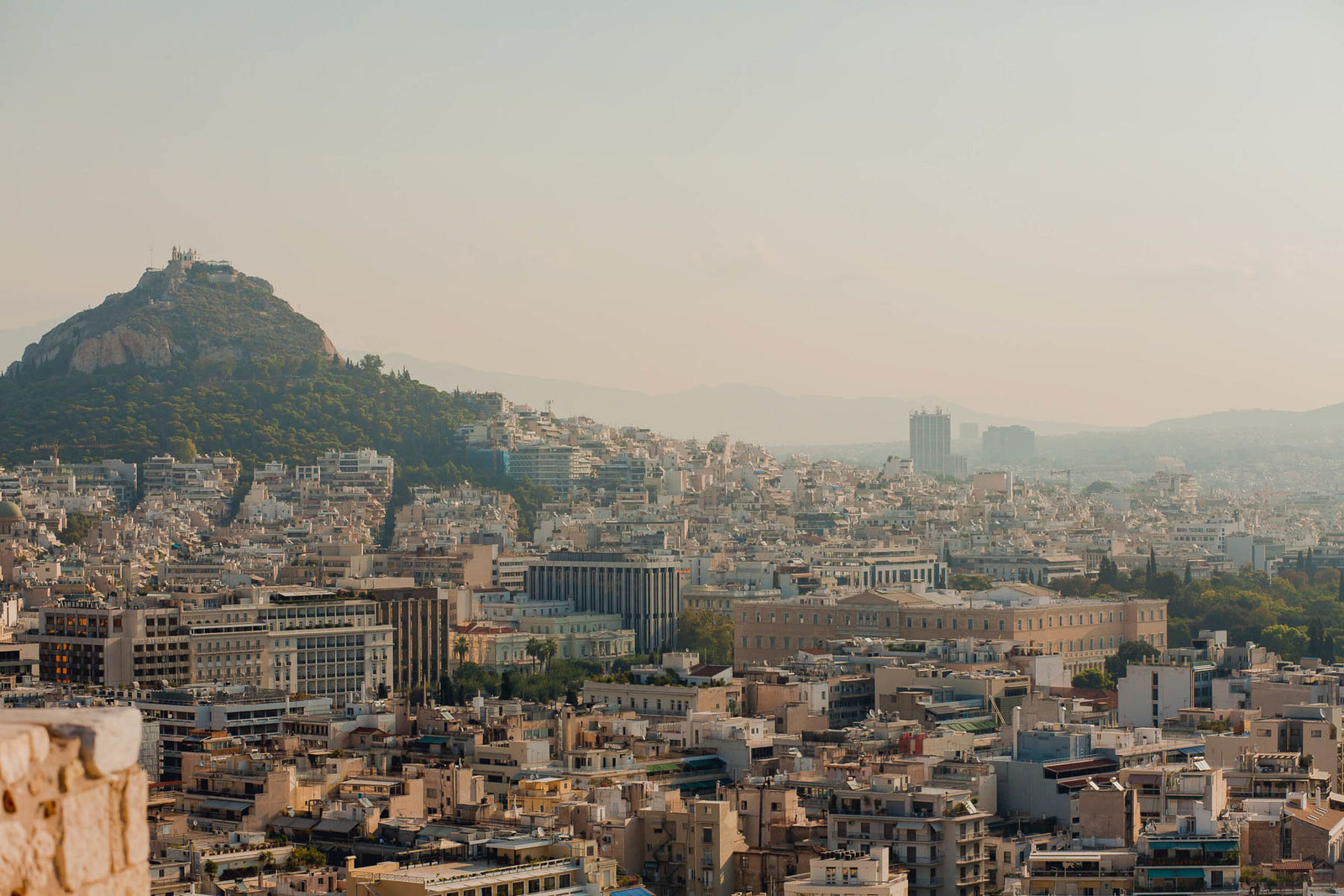 View of Mount Lycabettus from the Acropolis in Athens, Greece