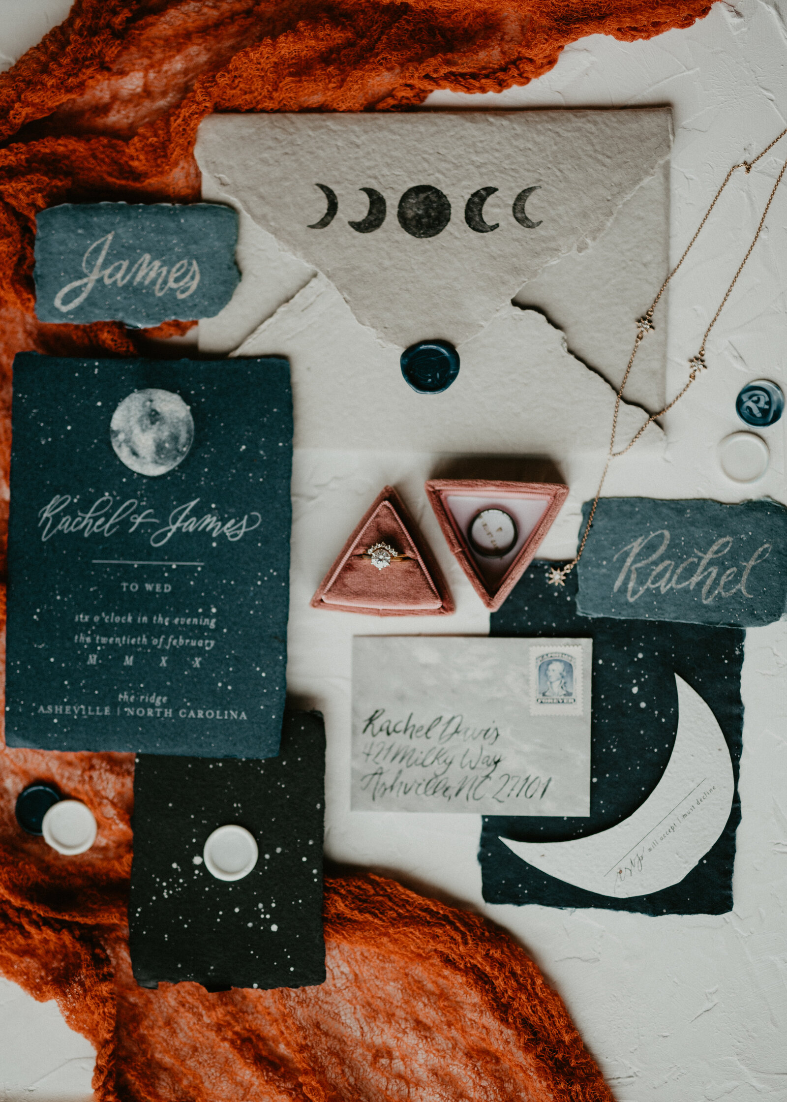 Asheville NC elopement with celestial boho vibes in the details
