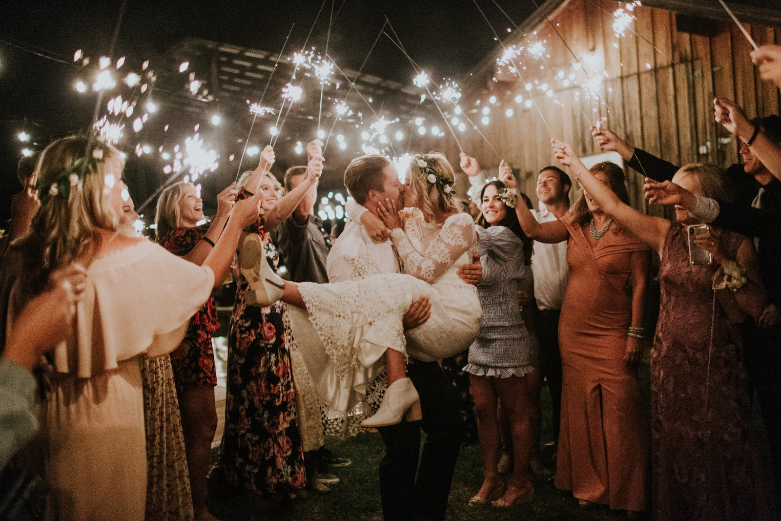 Whitefish MT Backyard Wedding Photos Sparkler Exit