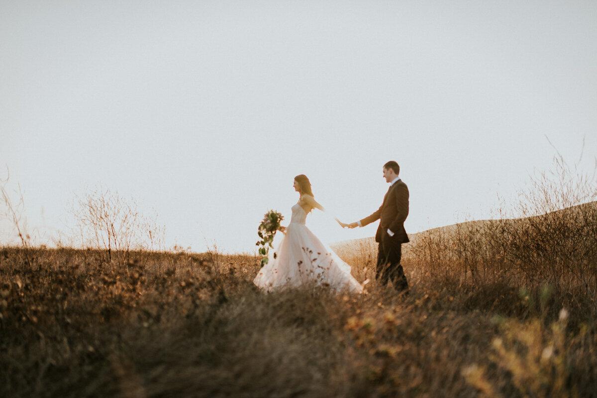 Bride and Groom in Colorado field