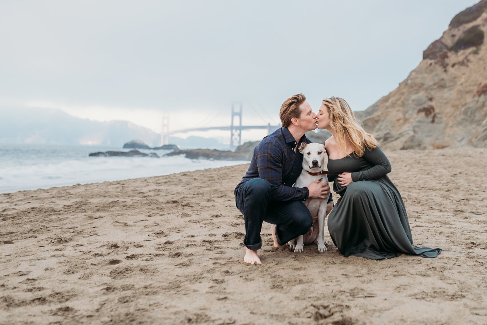 Maternity Photoshoot with Dog Baker Beach Foggy Photoshoot