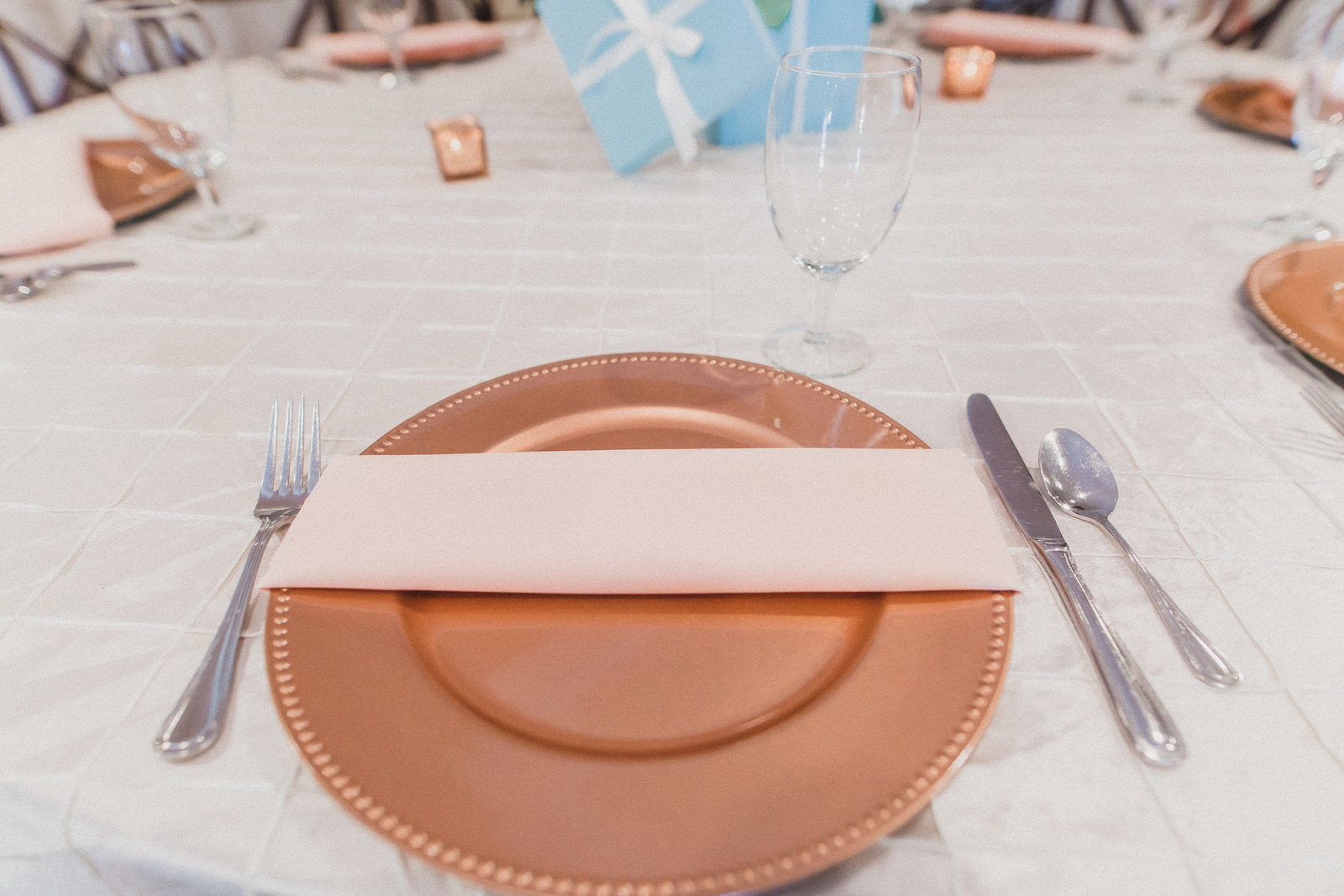 table setting with bronze charger
