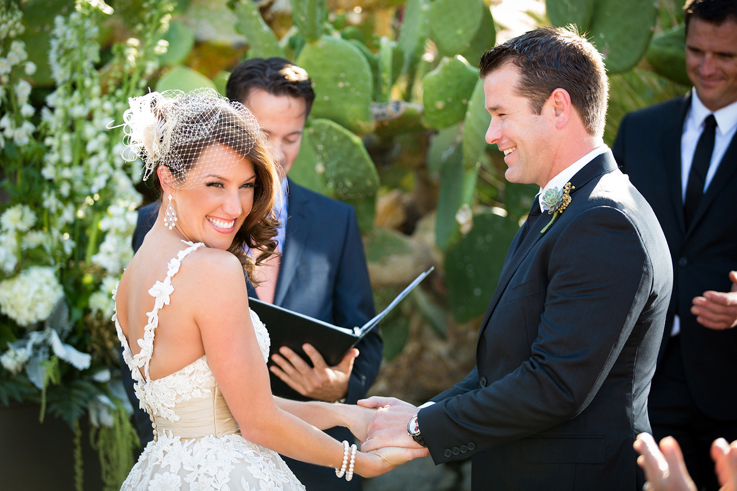 Palm Springs wedding photos beautiful bride at ceremony