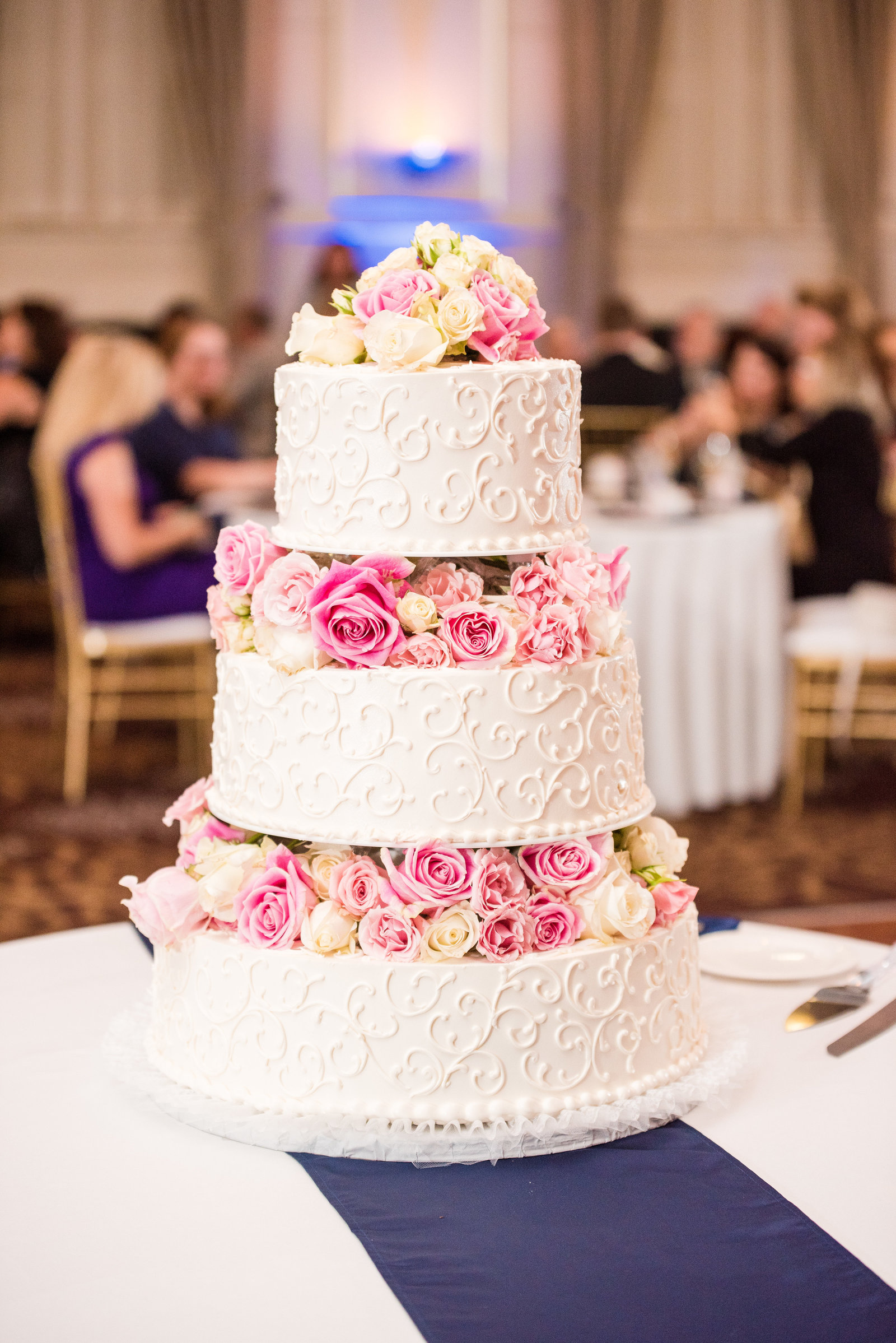 3 Tier White Wedding Cake With Pink and White Florals Wedding Reception Details Virginia Wedding Photographer