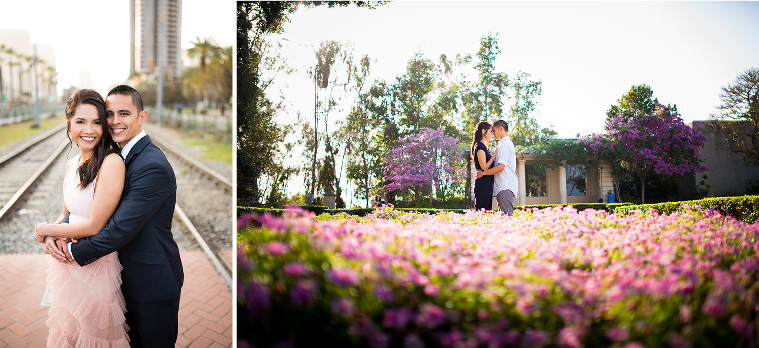 Balboa Park engagement photos wild flower fields