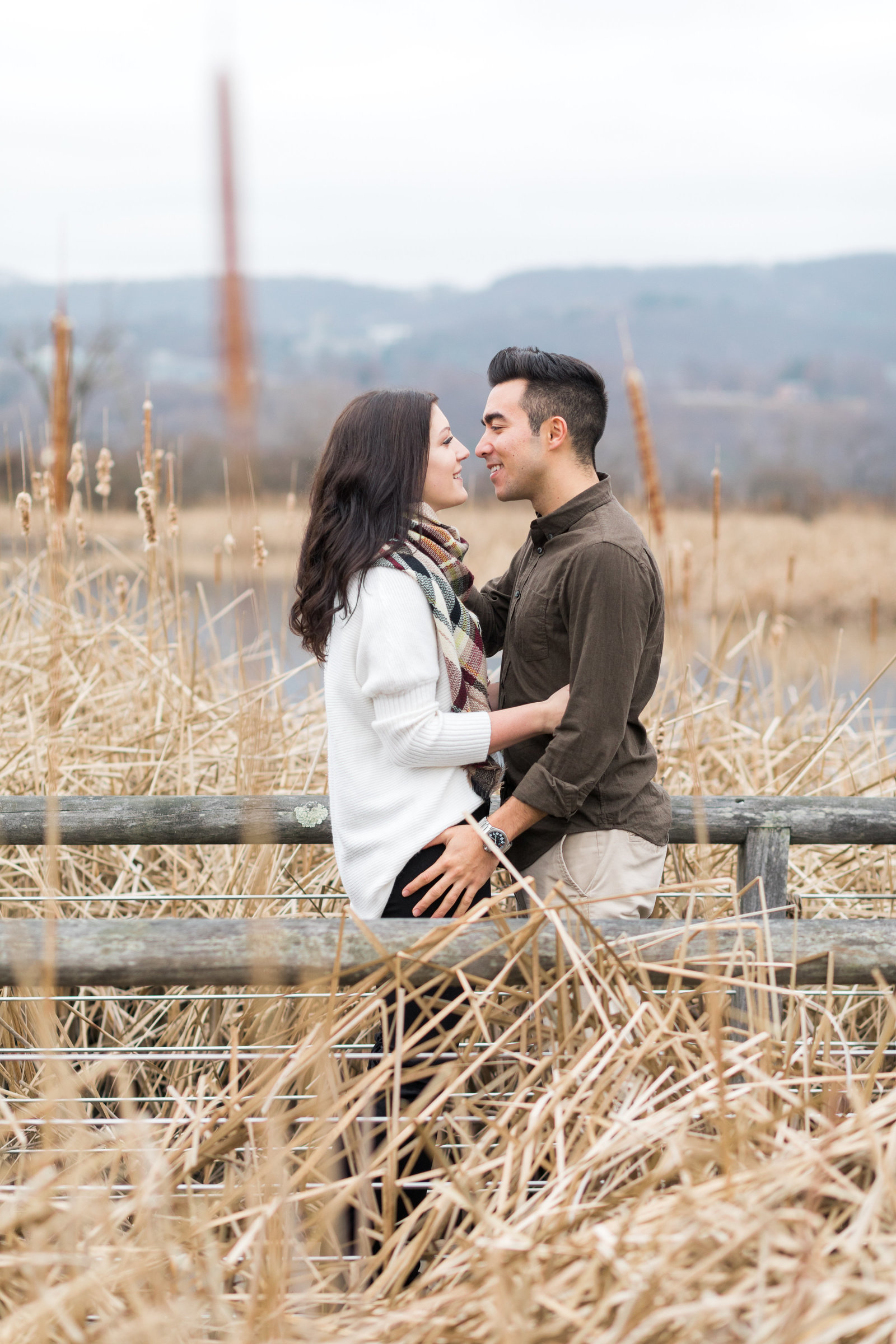 Couple about to kiss during their engagement session