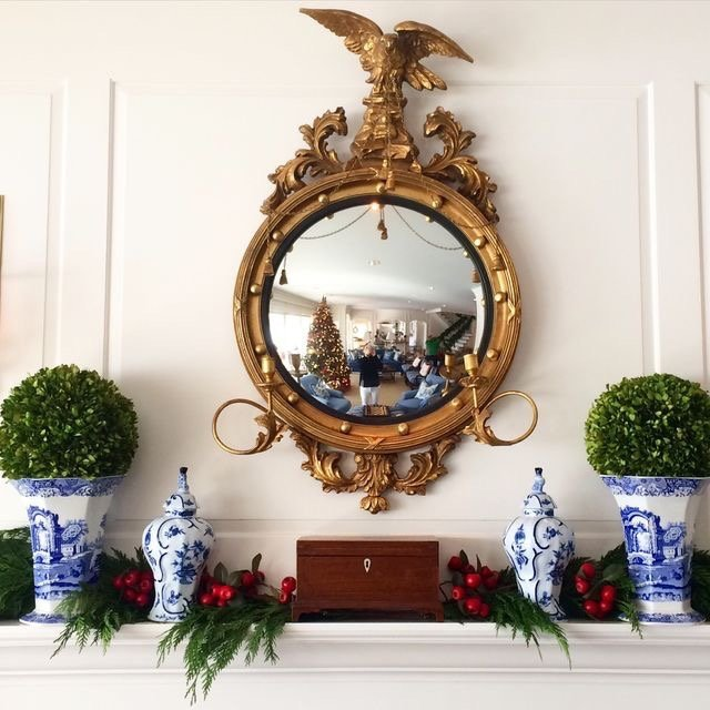 elegant holiday mantle blue and white