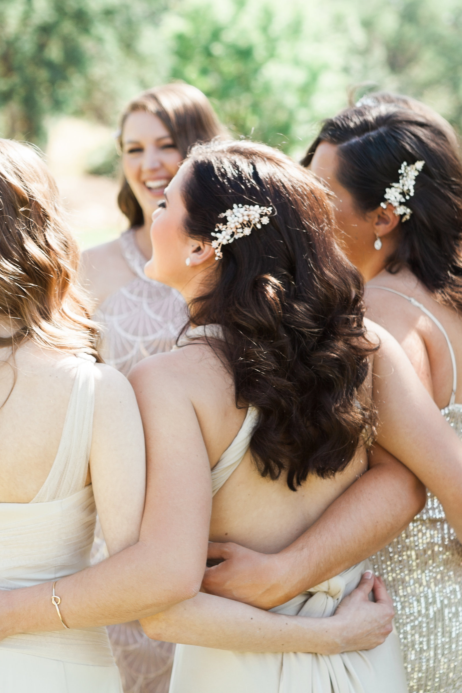 Bridesmaids in Mix Match Champagne Dresses