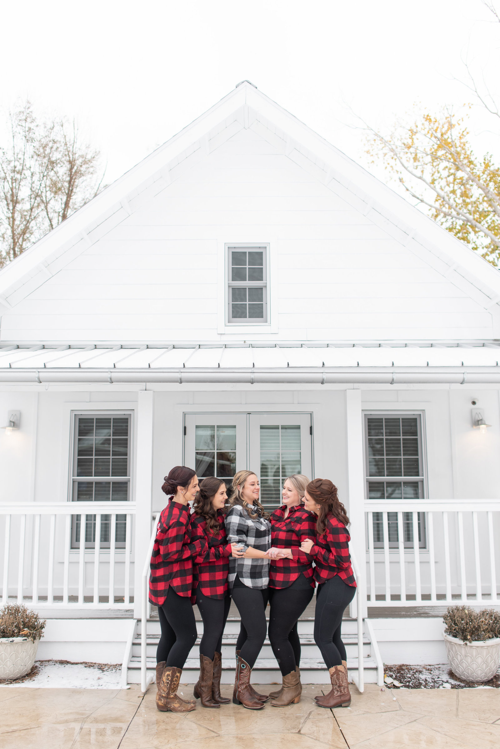 Bridesmaids photo in red matching flannels Raccoon Creek