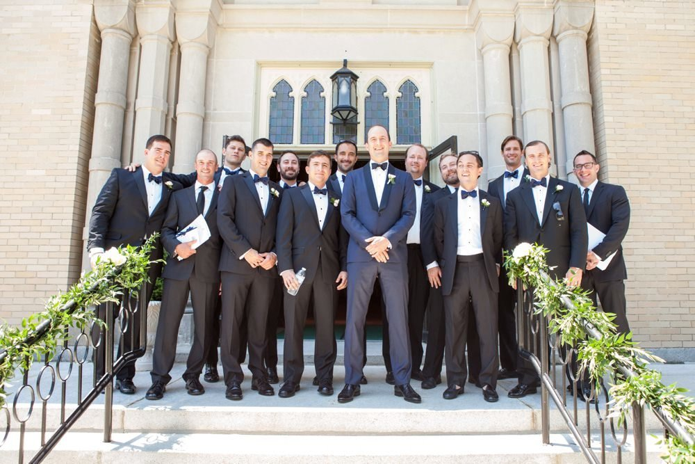 Black tie groom and groomsmen at The Eisenhower House, Newport RI