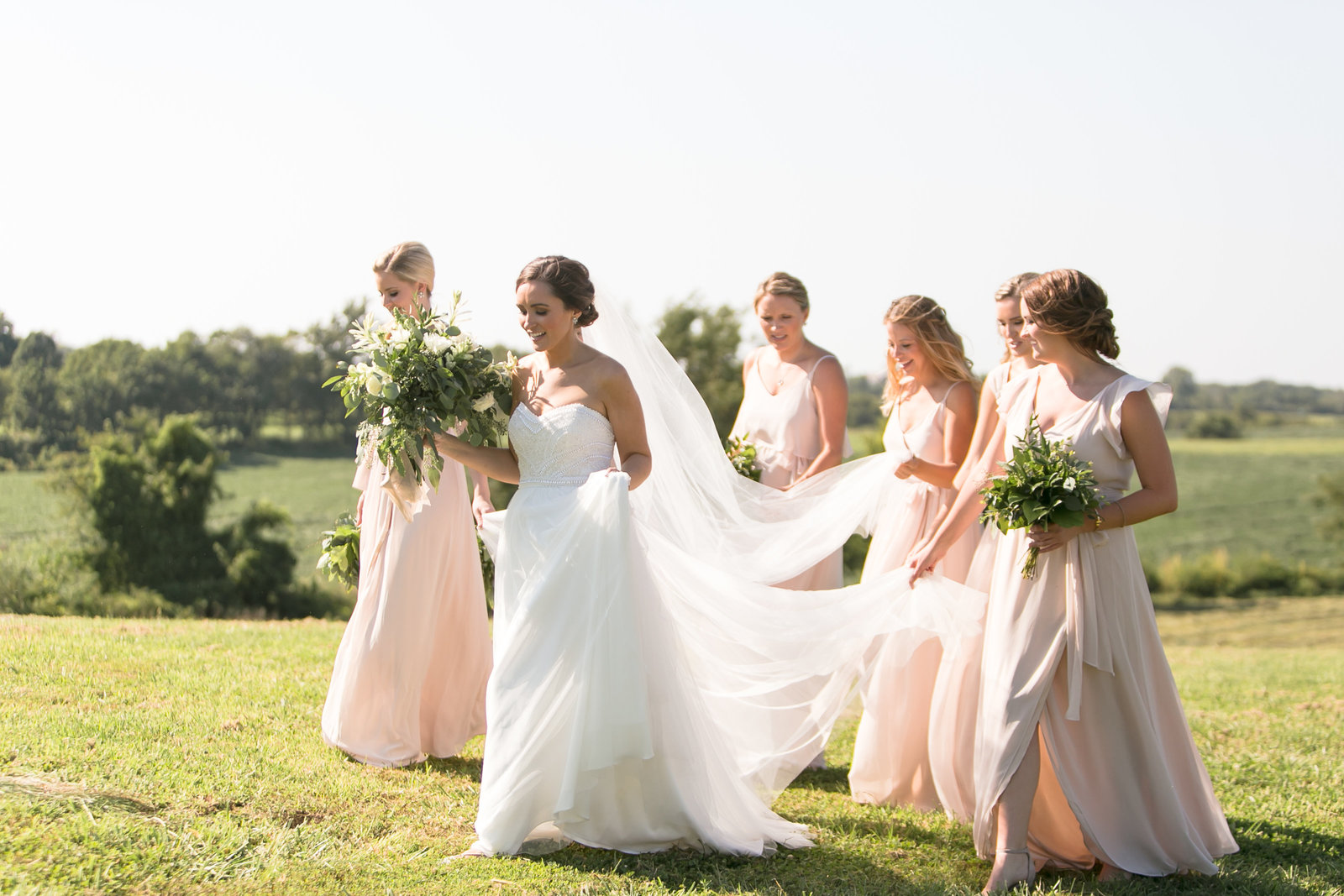 Bride and Bridesmaids at Weston Timber Barn Weston Missouri