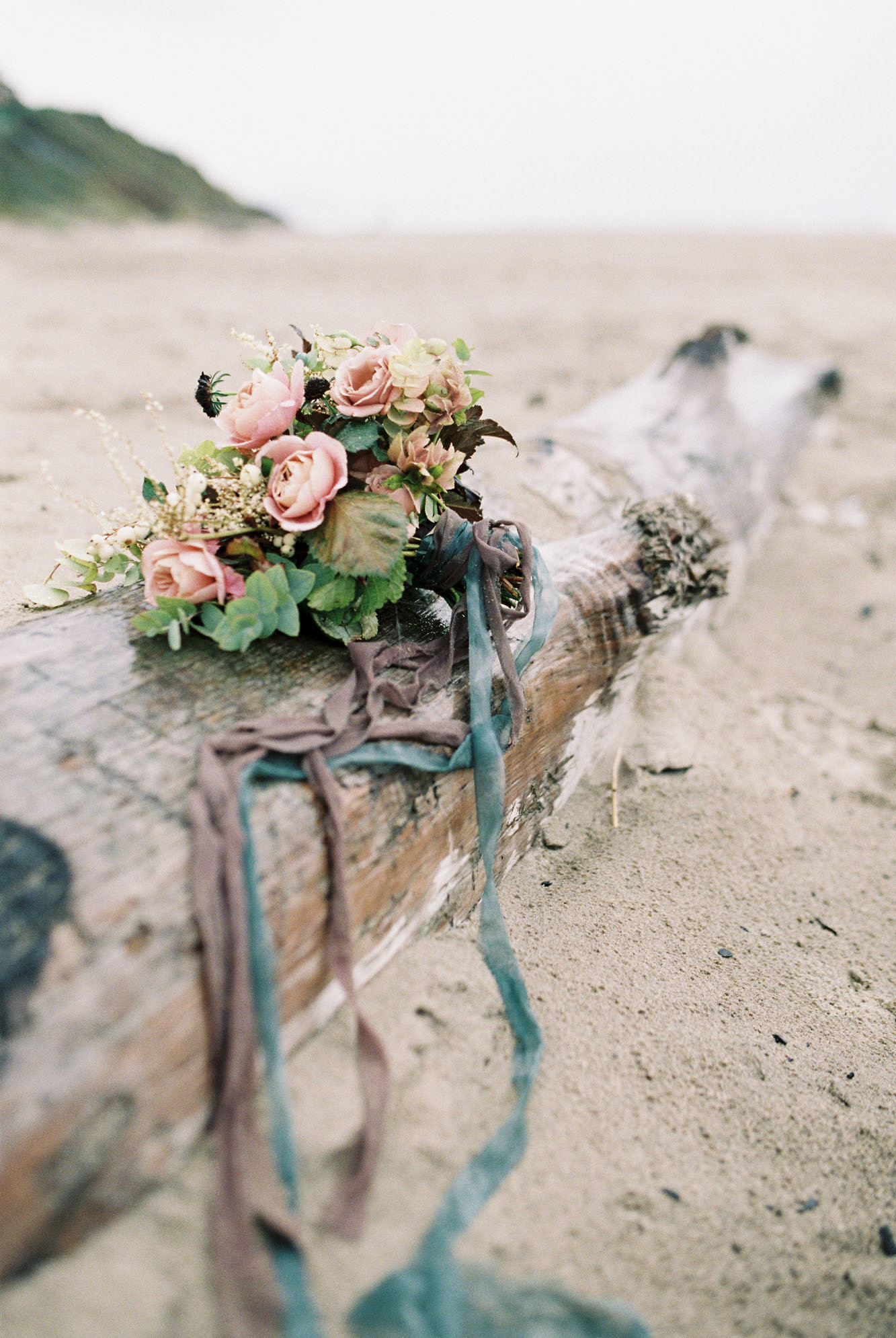 Wedding bouquet with ribbon at Cannon Beach