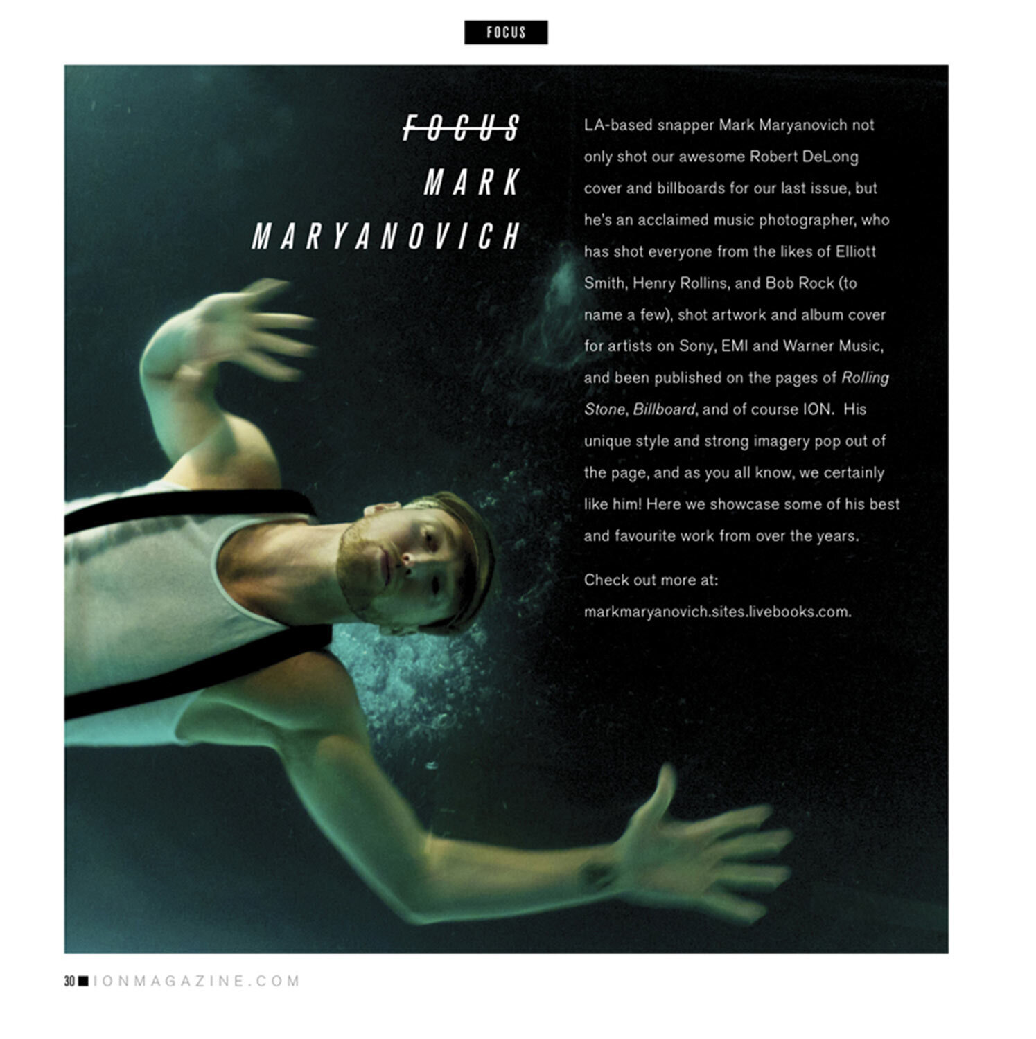 Article on Mark Maryanovich Photography page 1 text introduction overlaid on underwater portrait of swimming musician Publication ION Magazine page 1