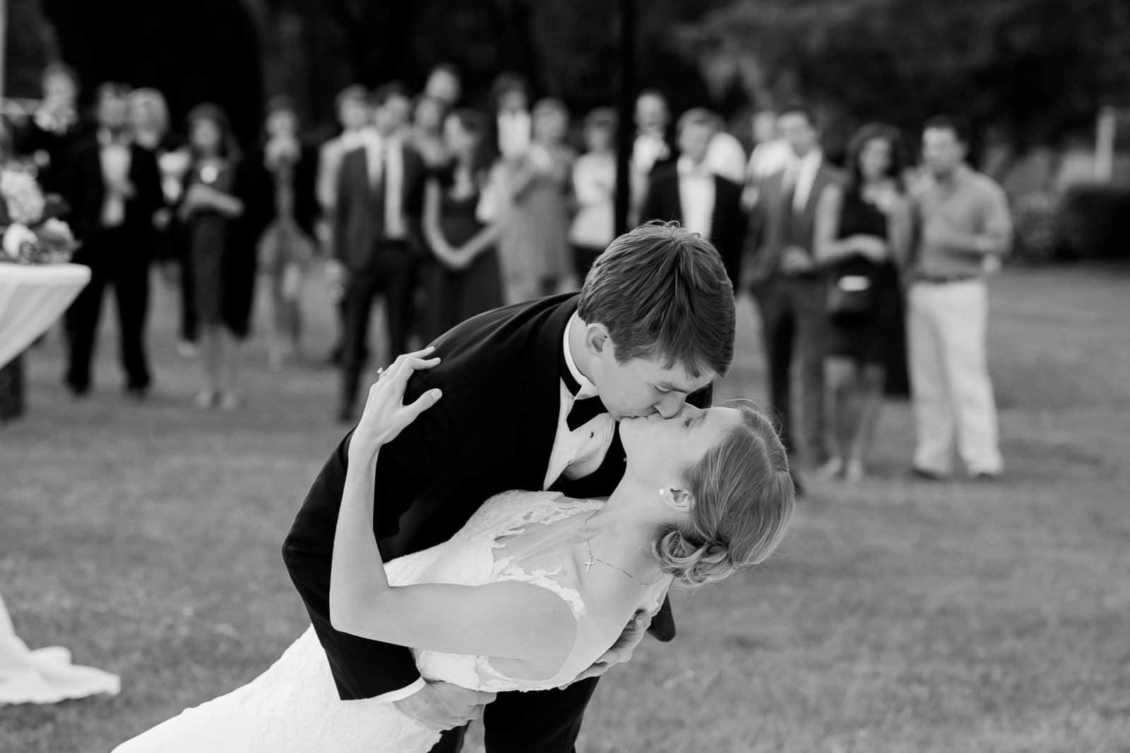 Bride and groom have first dance, Oakland Plantation, Mt Pleasant, South Carolina